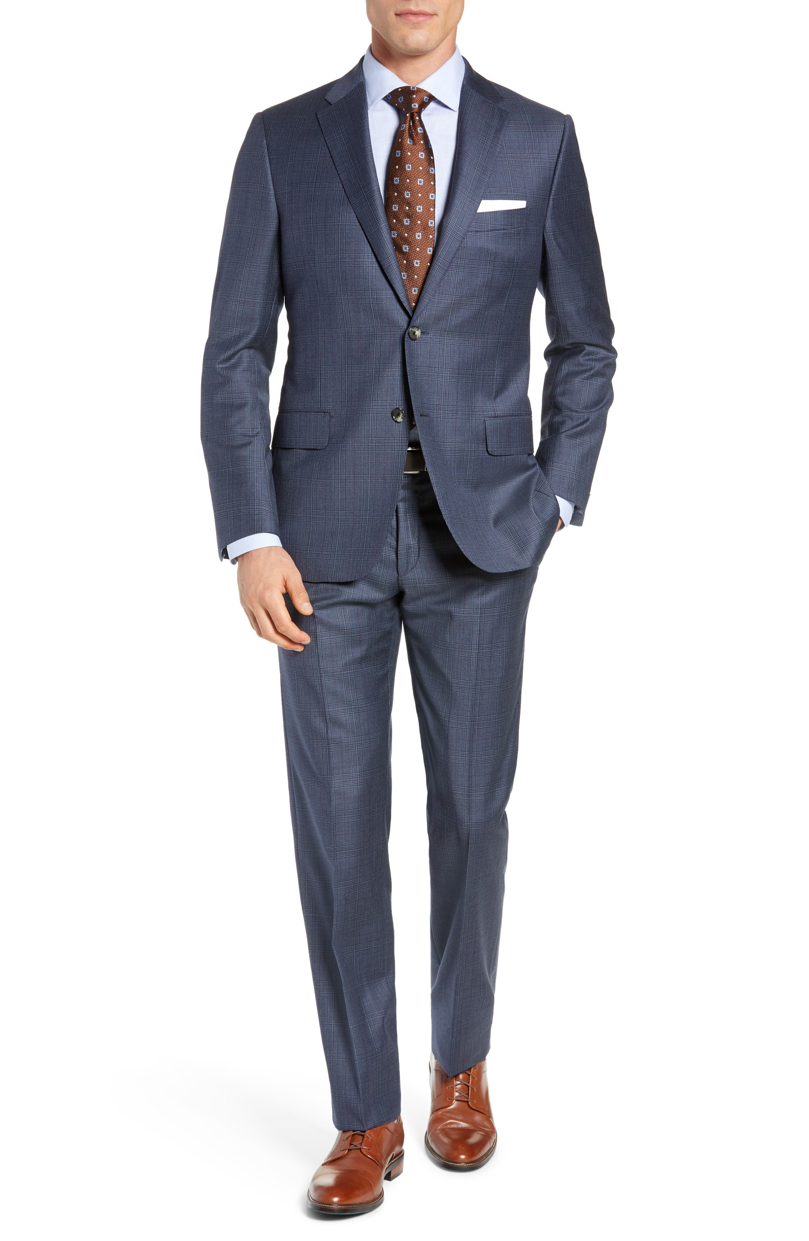 HICKEY FREEMAN Classic Fit Plaid Wool Suit in Grey