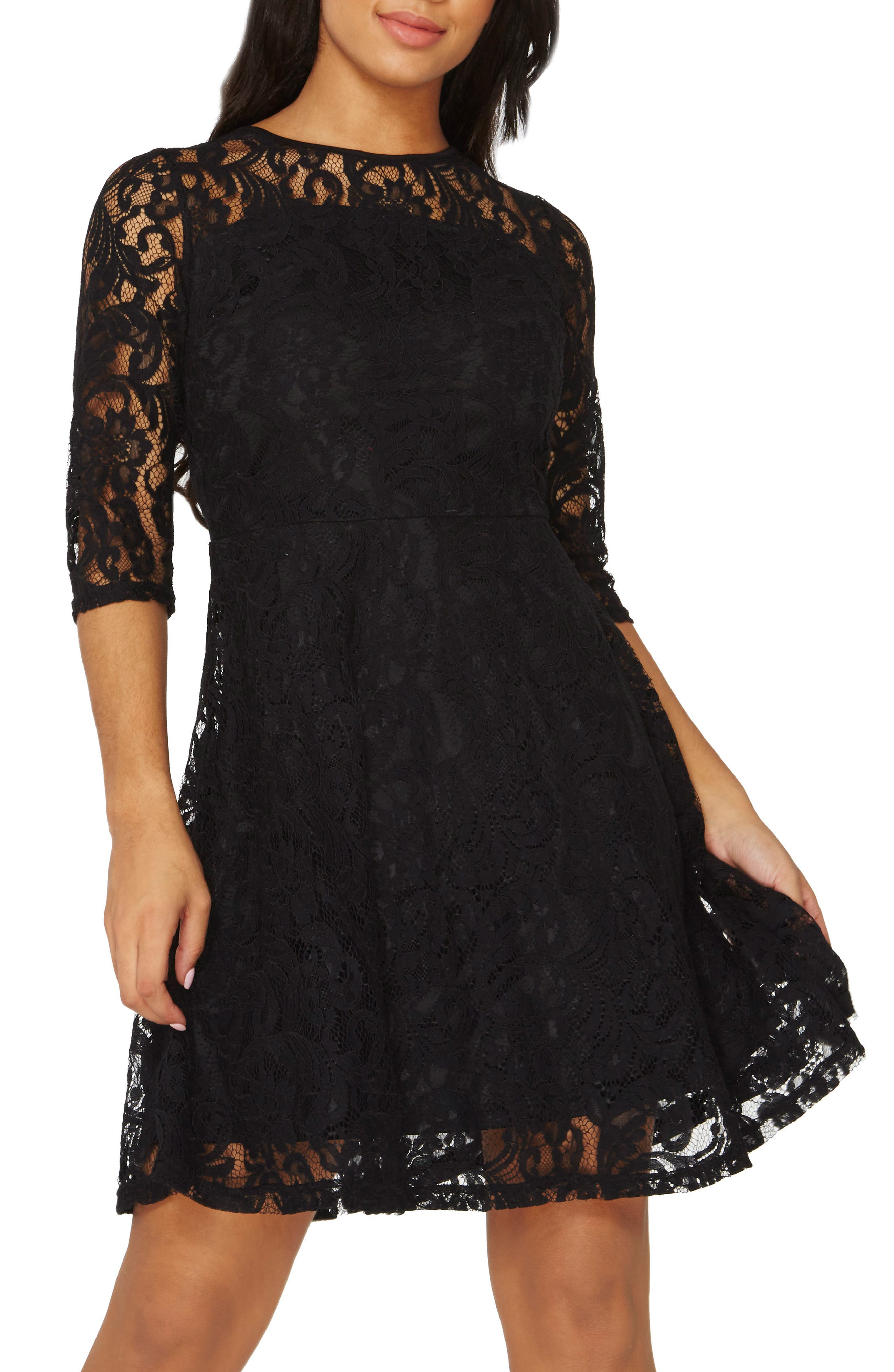 Lace Fit & Flare Dress,                             Alternate thumbnail 5, color,                             001