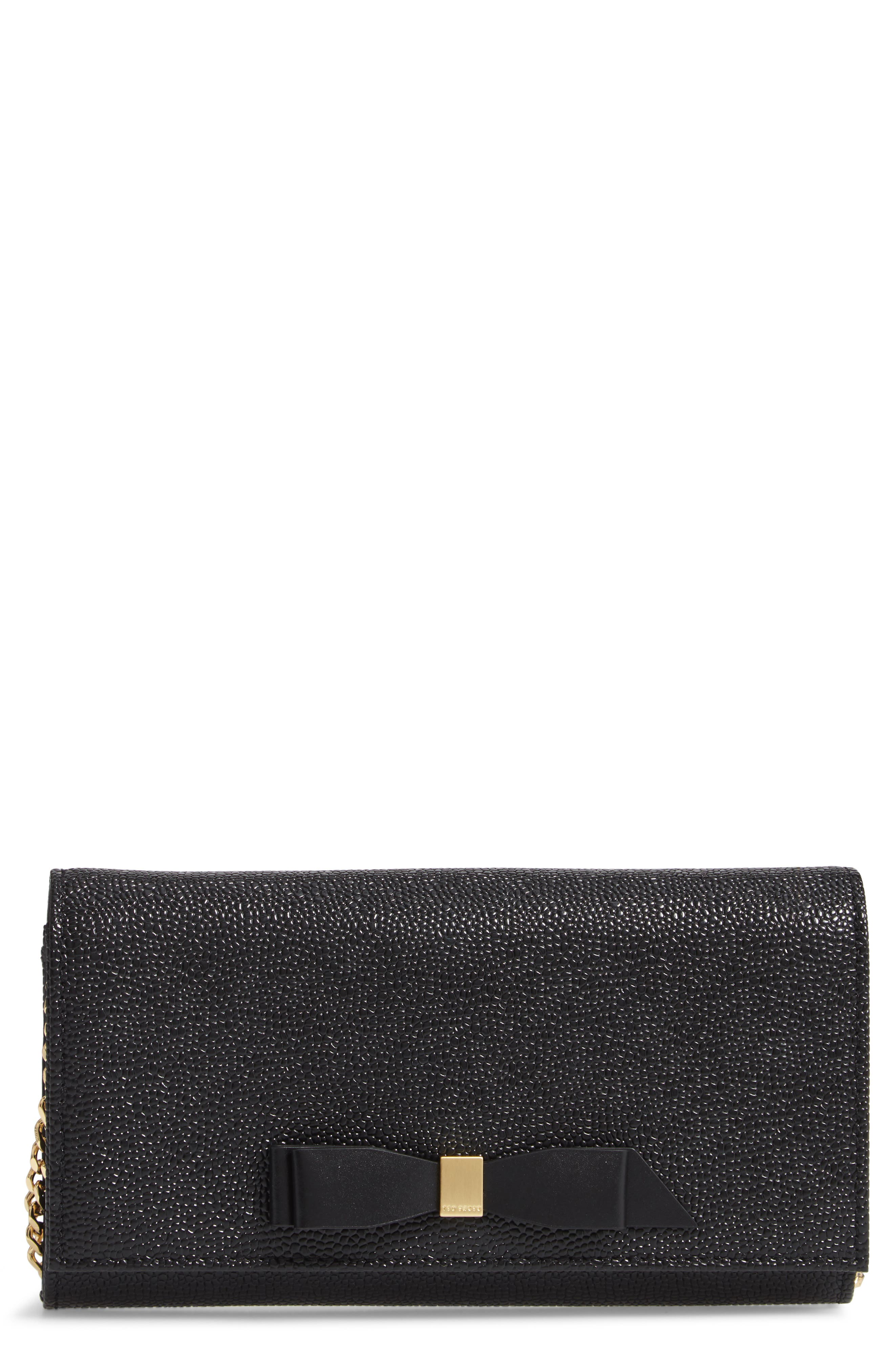 Alaine Crossbody Leather Matinée Wallet on a Chain,                         Main,                         color, BLACK