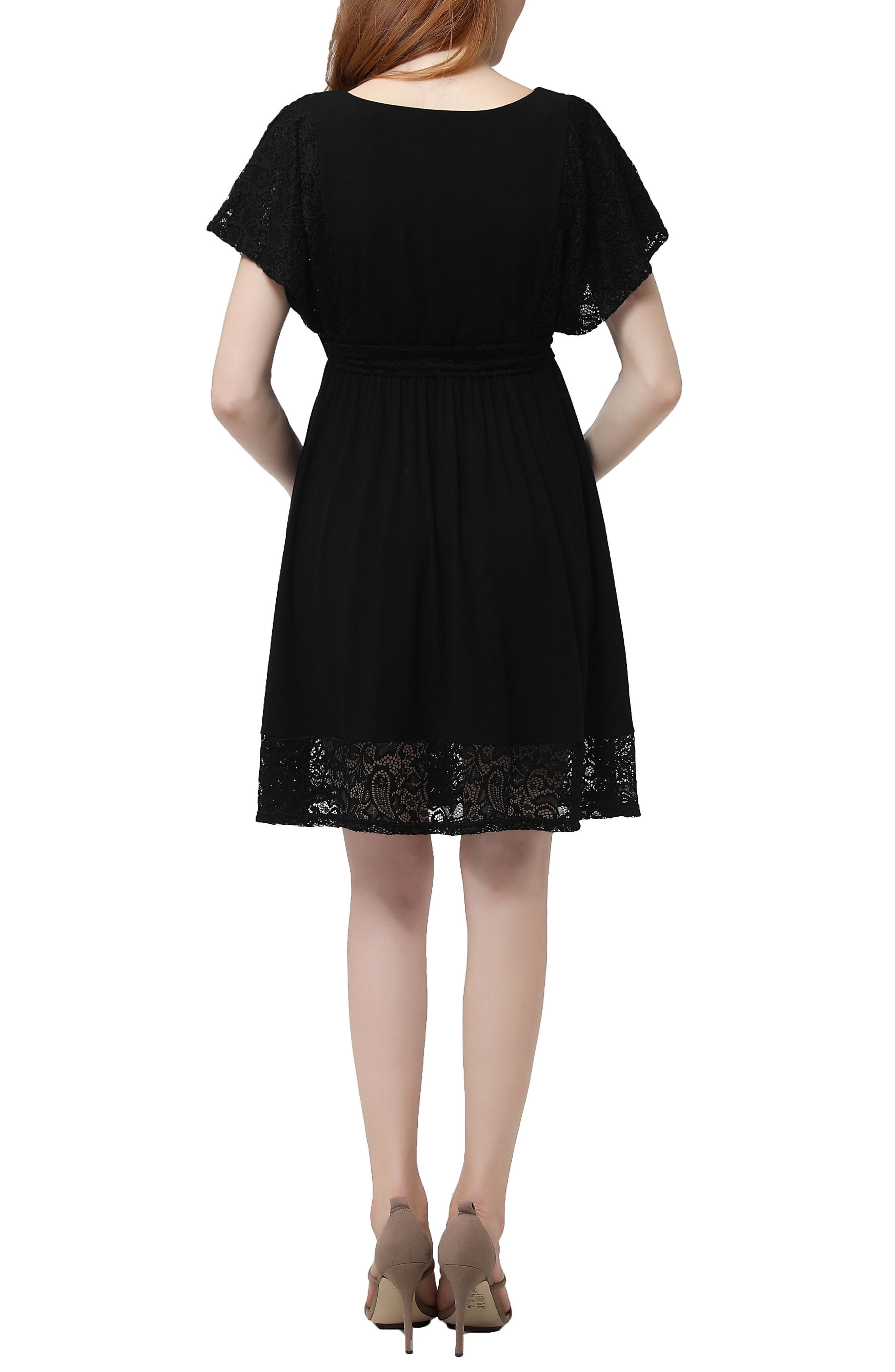 Alison Lace Trim Maternity Dress,                             Alternate thumbnail 2, color,                             001