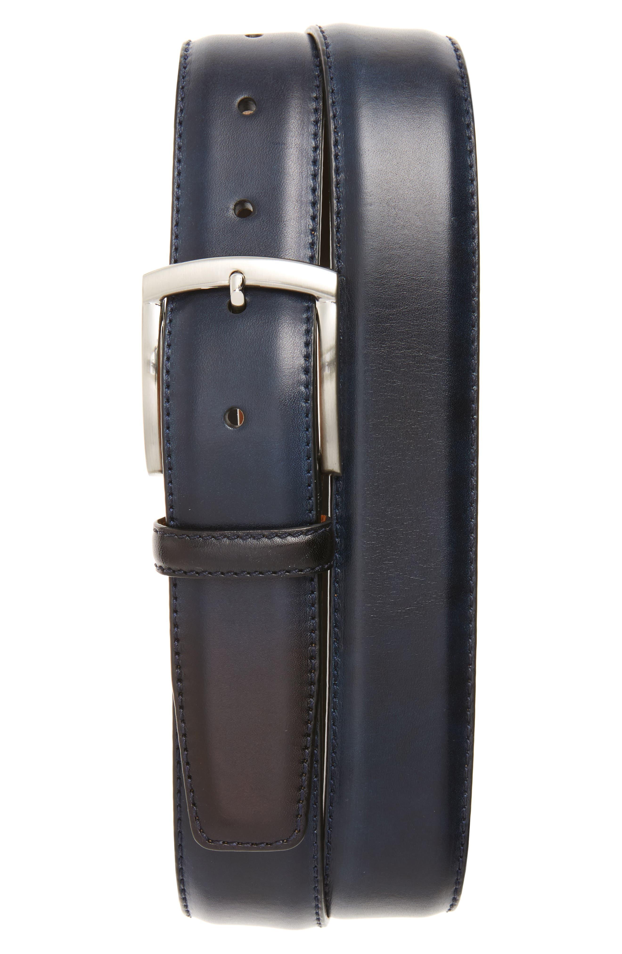 Magnanni Tanning Leather Belt, Navy