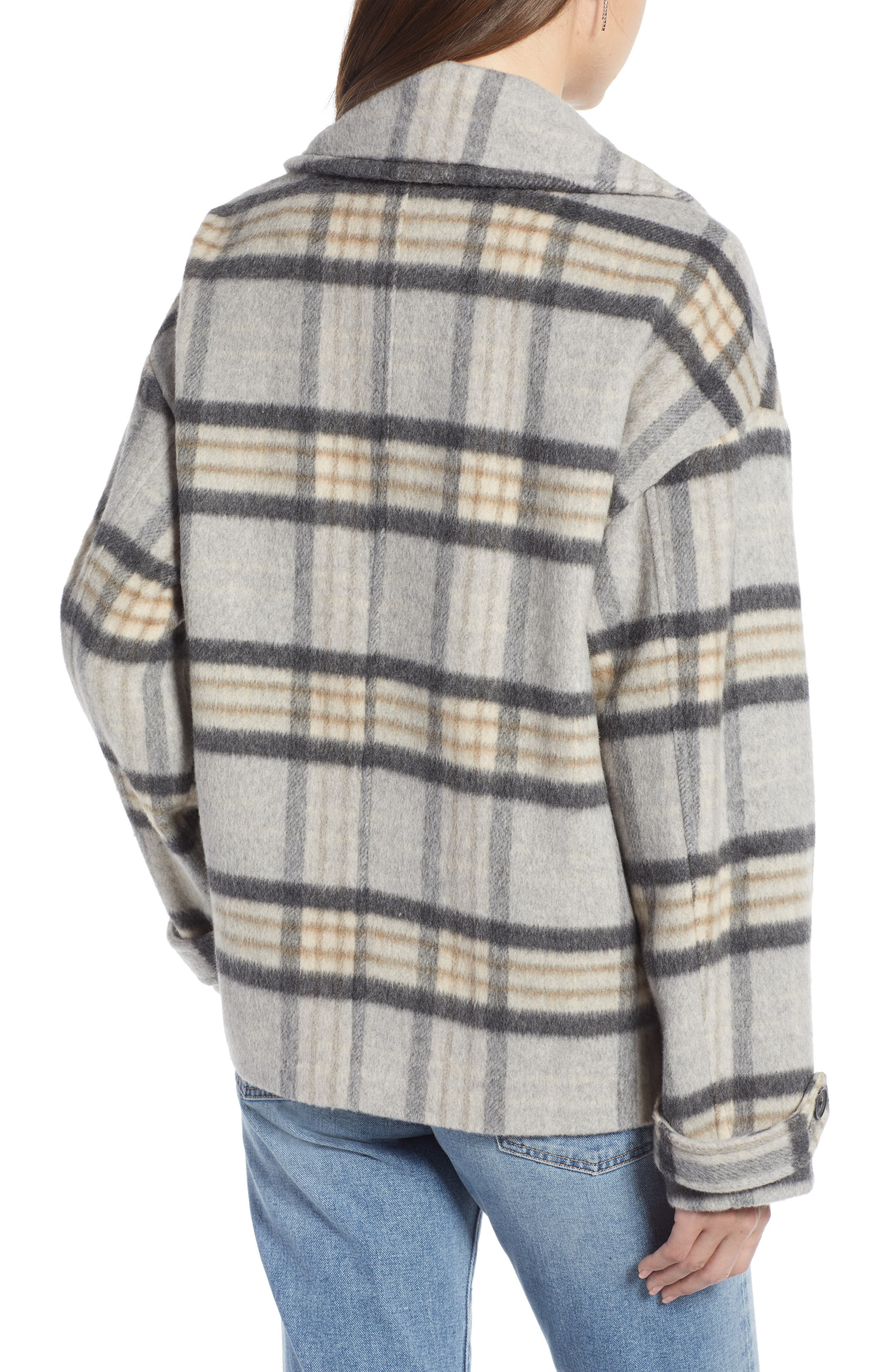 SOMETHING NAVY,                             Double Breasted Crop Jacket,                             Alternate thumbnail 2, color,                             GREY LIGHT HEATHER PLAID