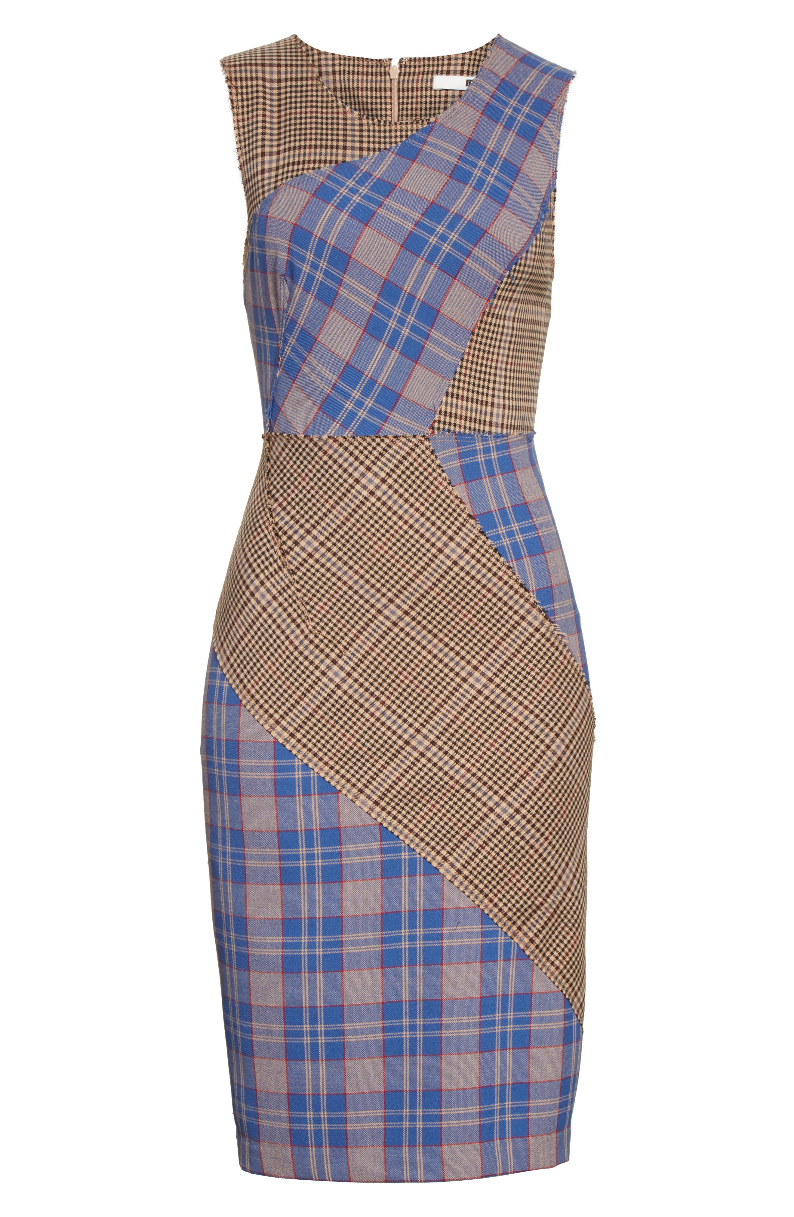 Patchwork Plaid Sheath Dress,                             Alternate thumbnail 6, color,                             459