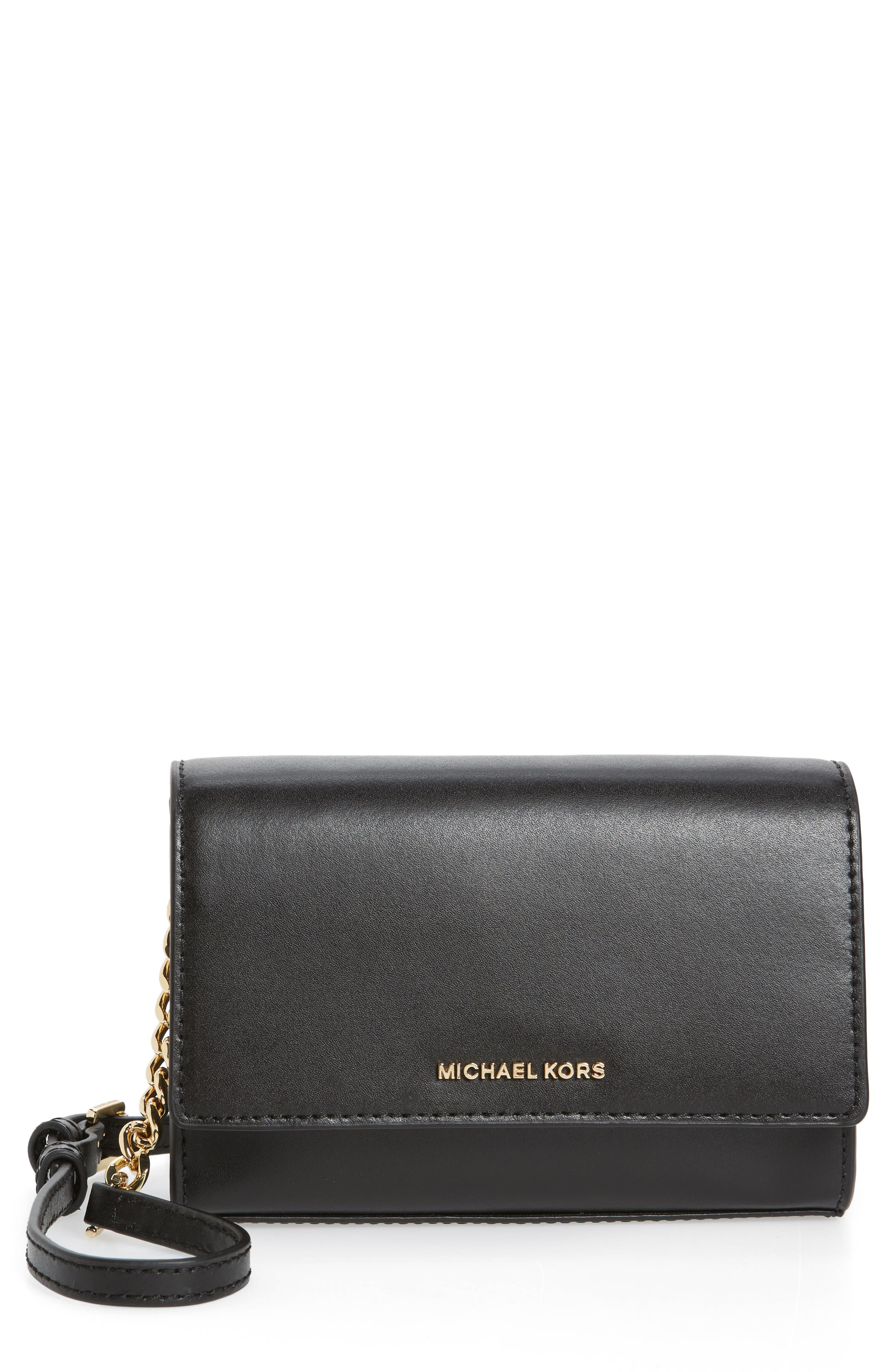 Medium Ruby Convertible Leather Clutch,                             Main thumbnail 1, color,                             001