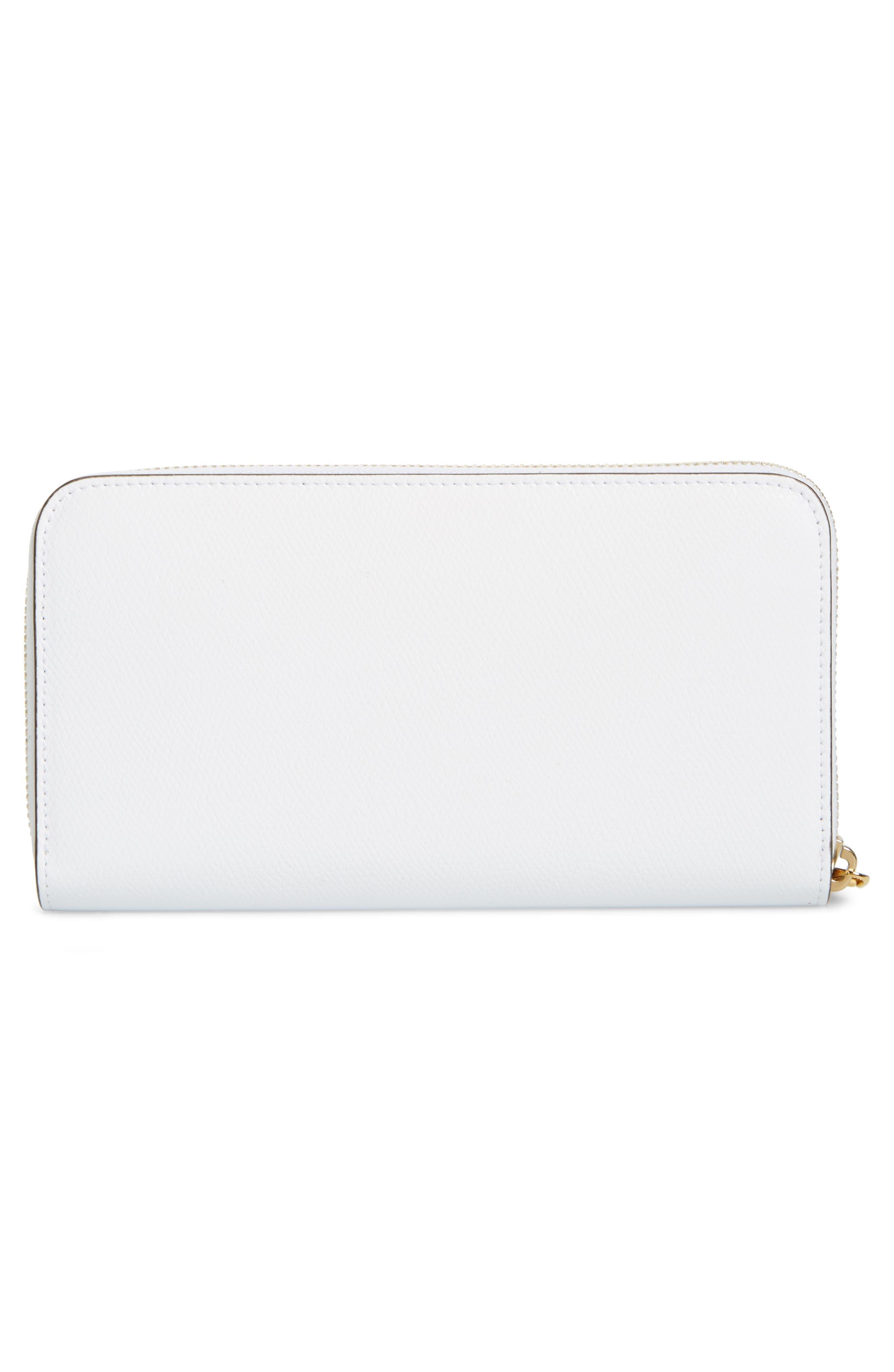 Logo Zip Around Leather Wallet,                             Alternate thumbnail 4, color,                             WHITE