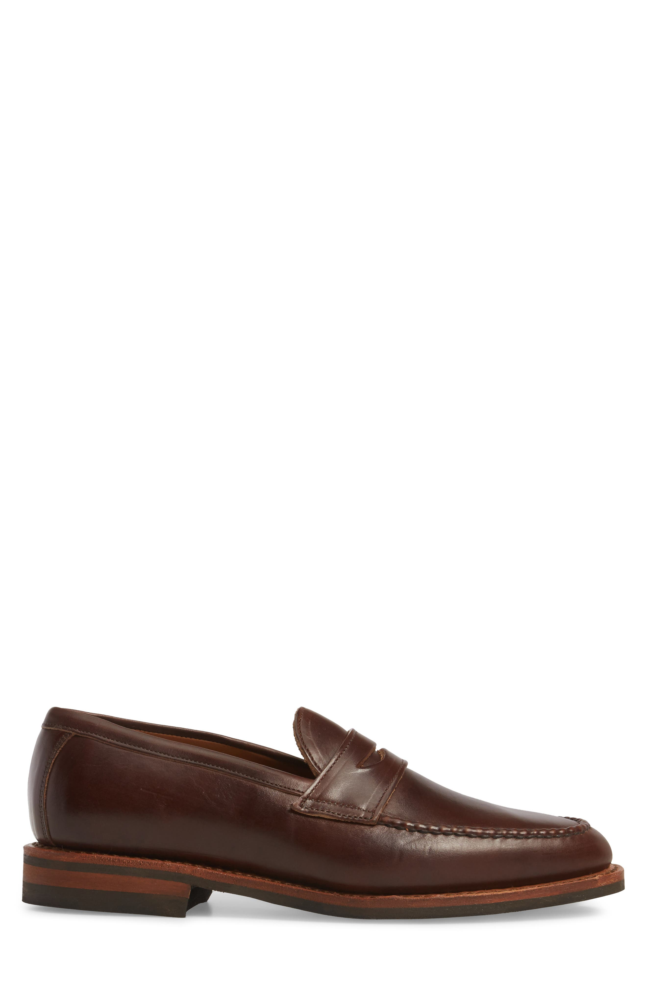 Addison Penny Loafer,                             Alternate thumbnail 3, color,                             BROWN LEATHER