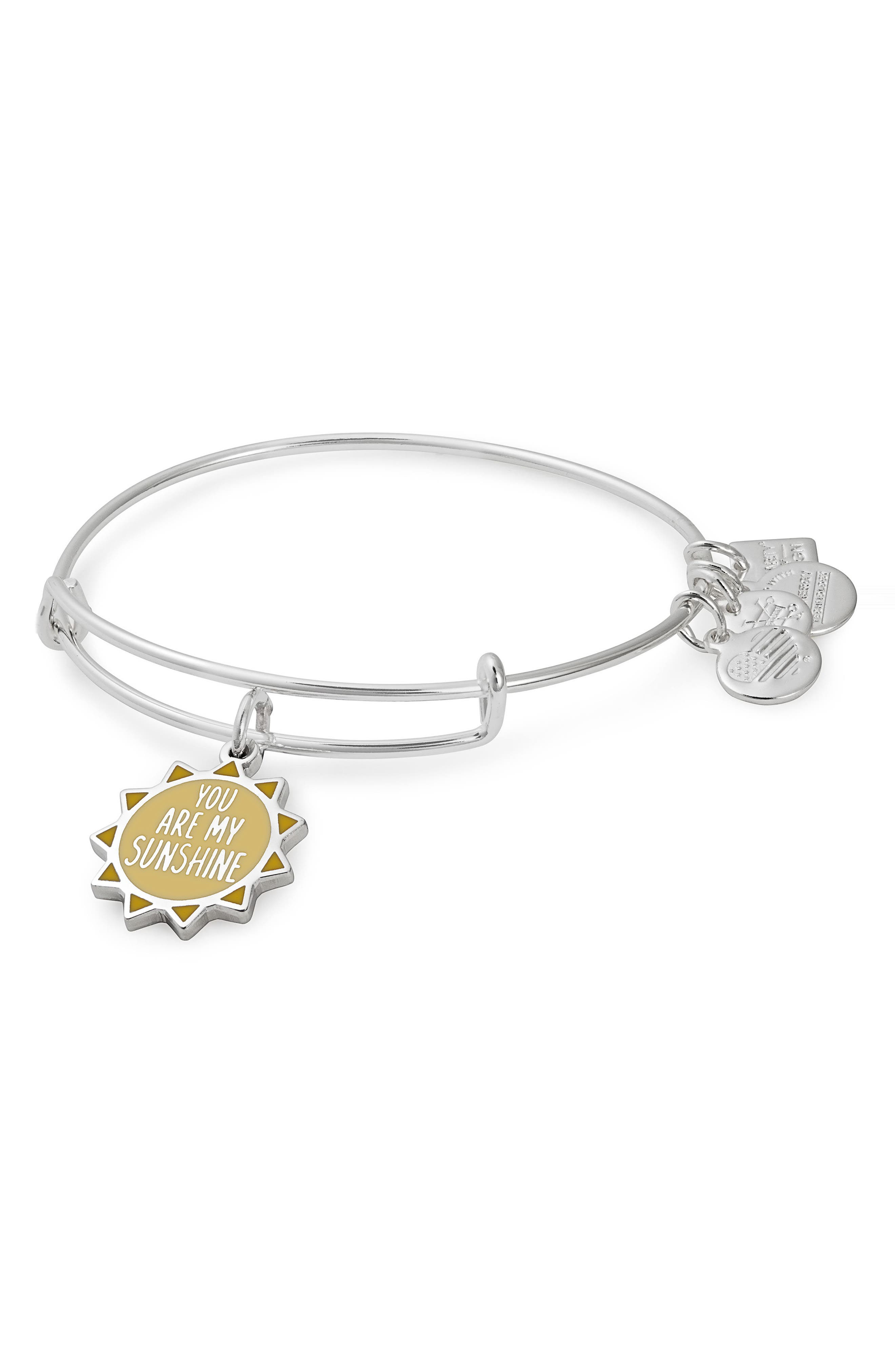 Charity by Design You Are My Sunshine Charm Bracelet,                             Main thumbnail 1, color,                             SILVER
