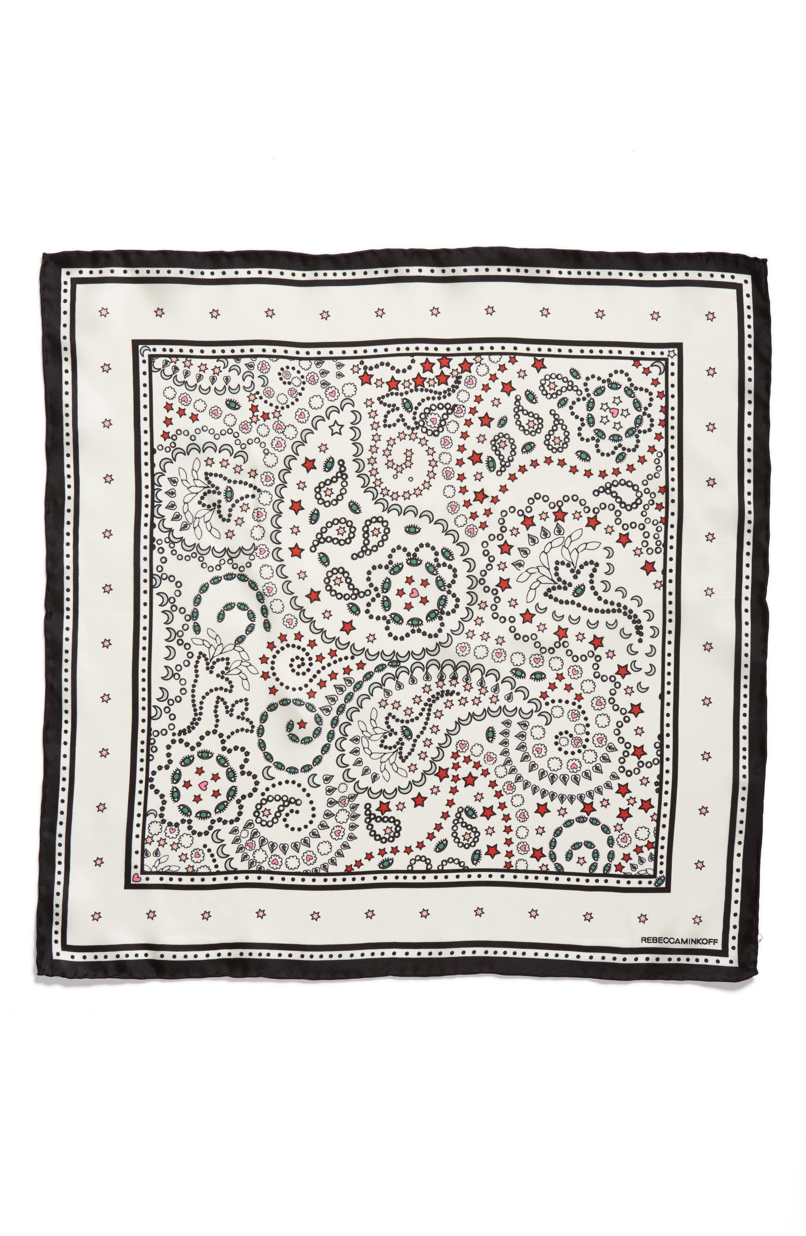 Paisley Symbols Silk Bandana,                             Alternate thumbnail 8, color,