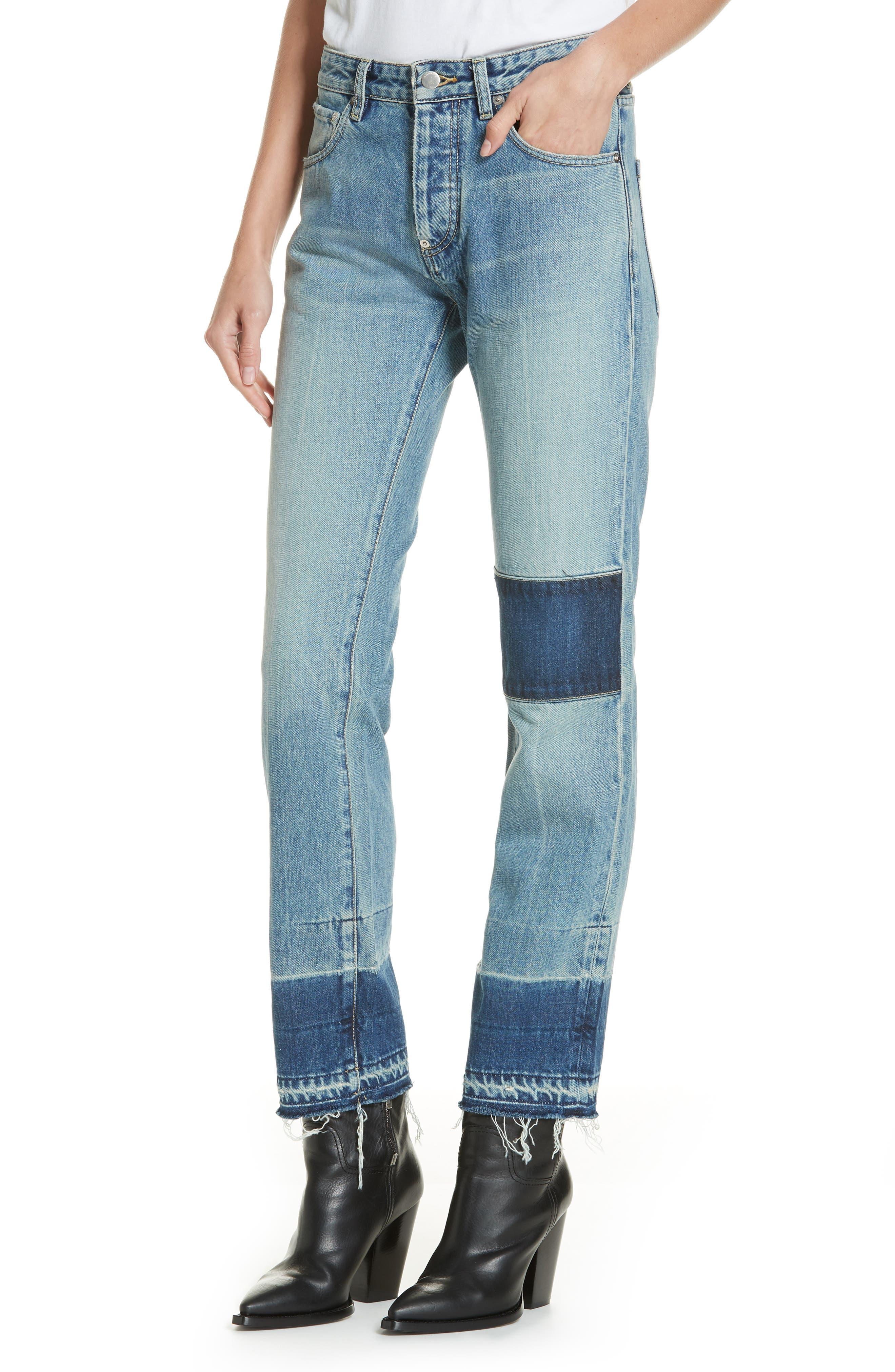 Patch Jeans,                             Alternate thumbnail 4, color,                             BLUE