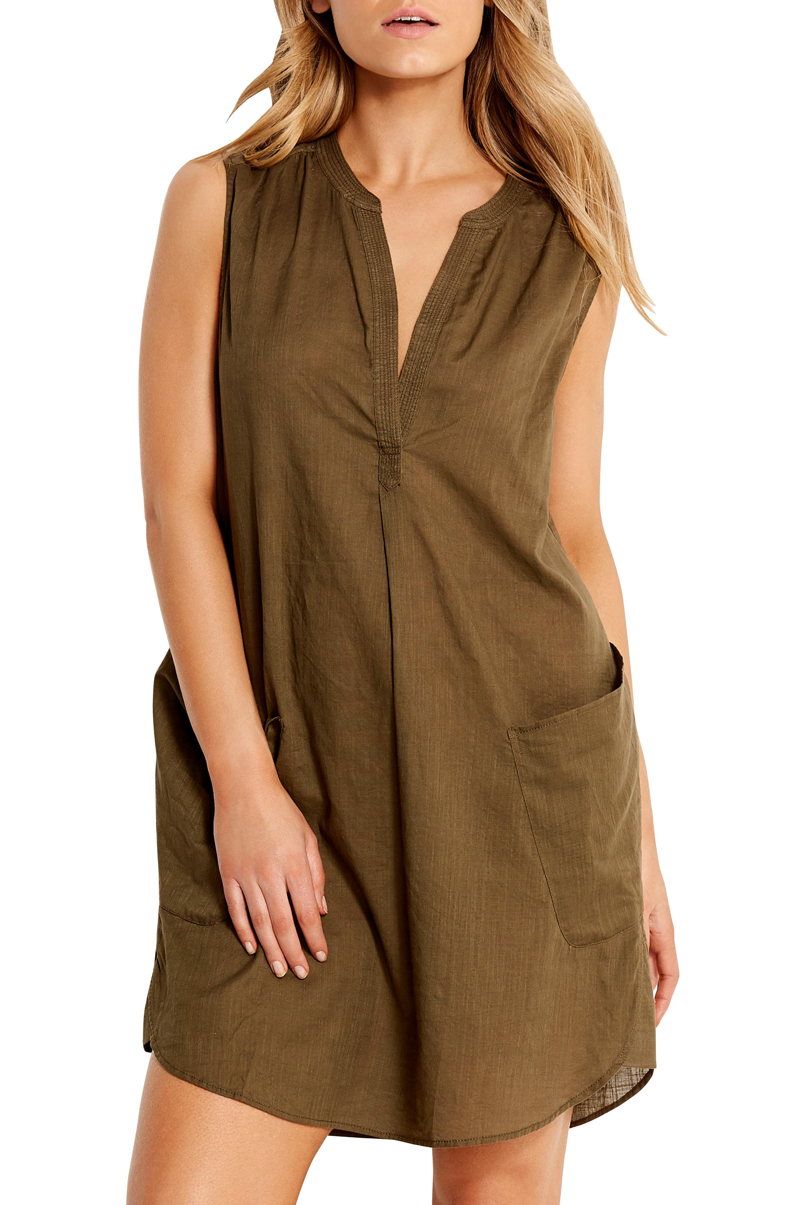 SEAFOLLY Palm Beach Cover-Up Dress, Main, color, DARK OLIVE
