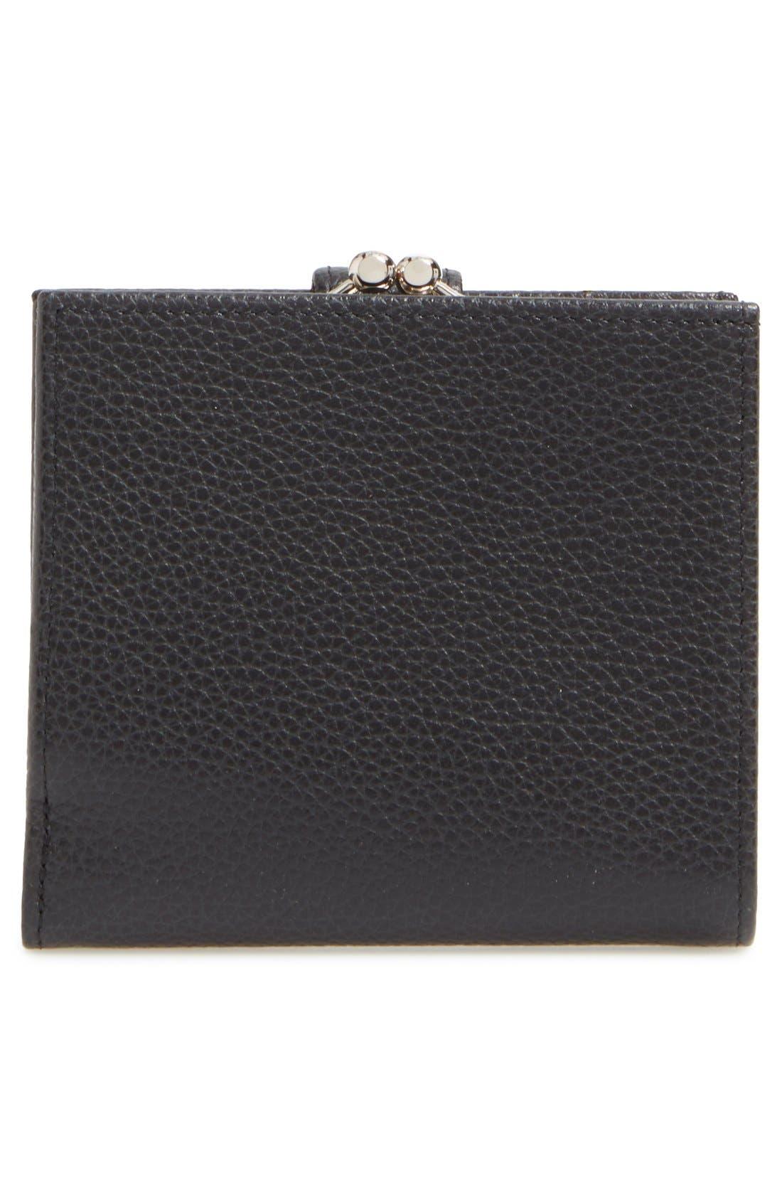 'Le Foulonne' Pebbled Leather Wallet,                             Alternate thumbnail 4, color,                             BLACK