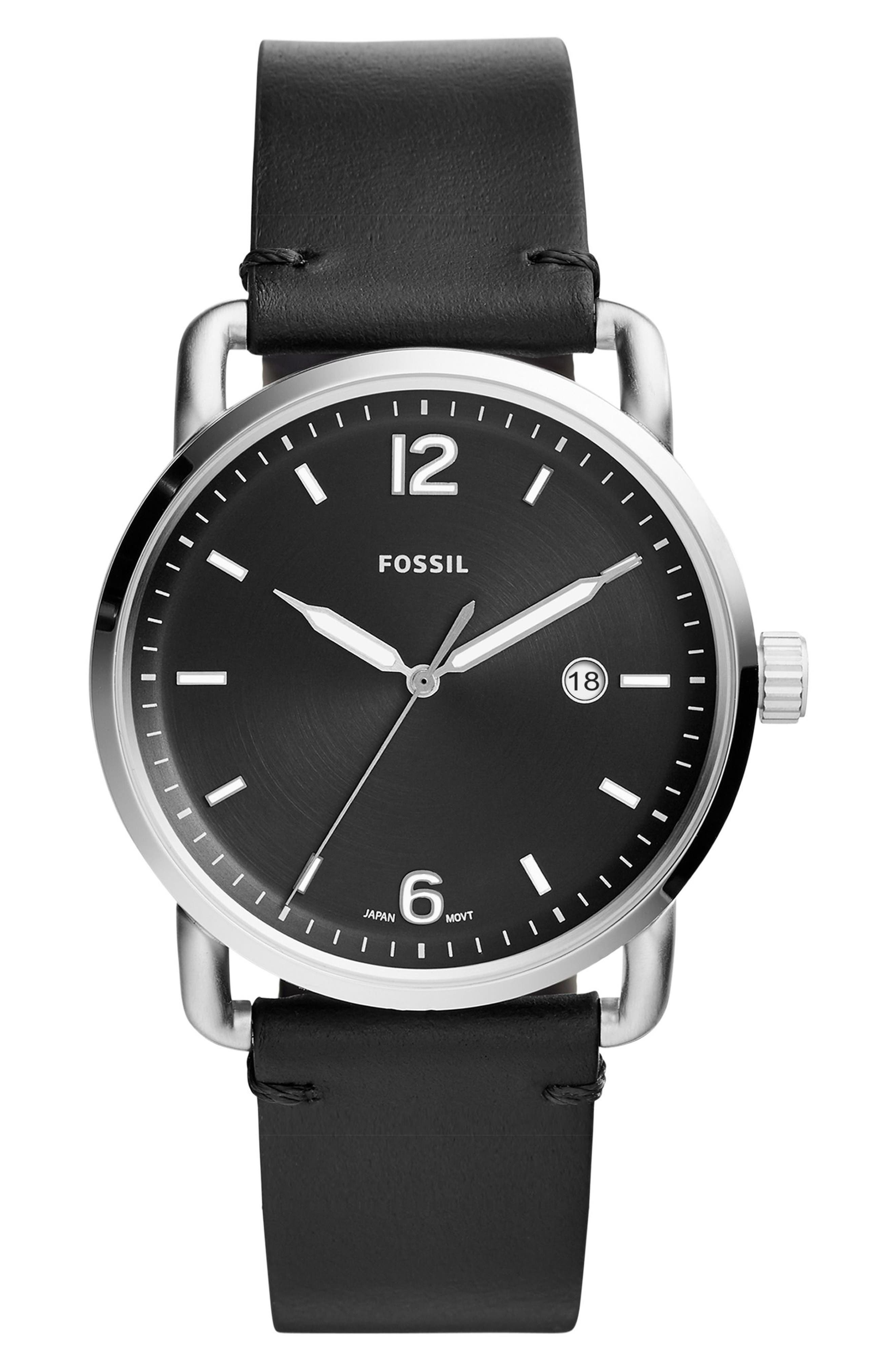 FOSSIL,                             The Commuter Leather Strap Watch, 42mm,                             Main thumbnail 1, color,                             005