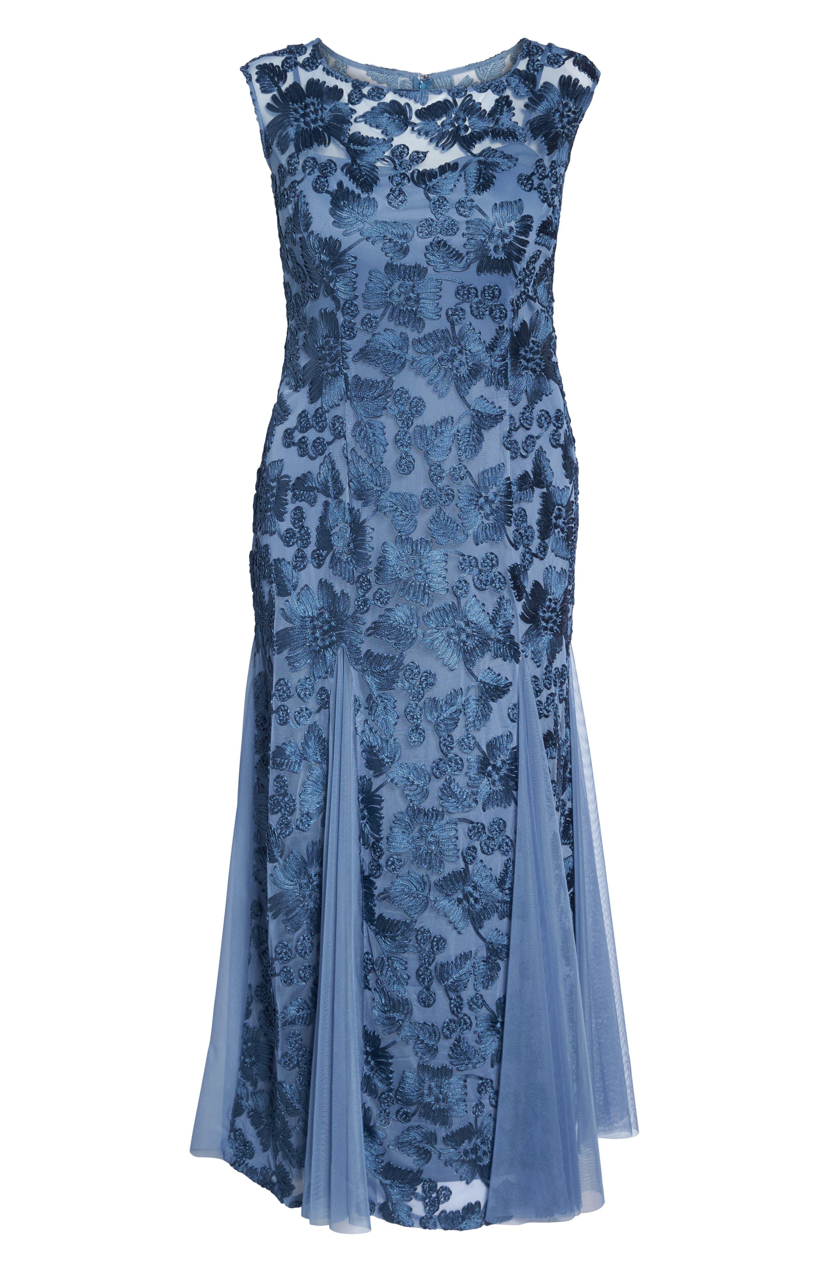 Soutache Stretch Tulle A-Line Gown,                             Alternate thumbnail 6, color,                             496