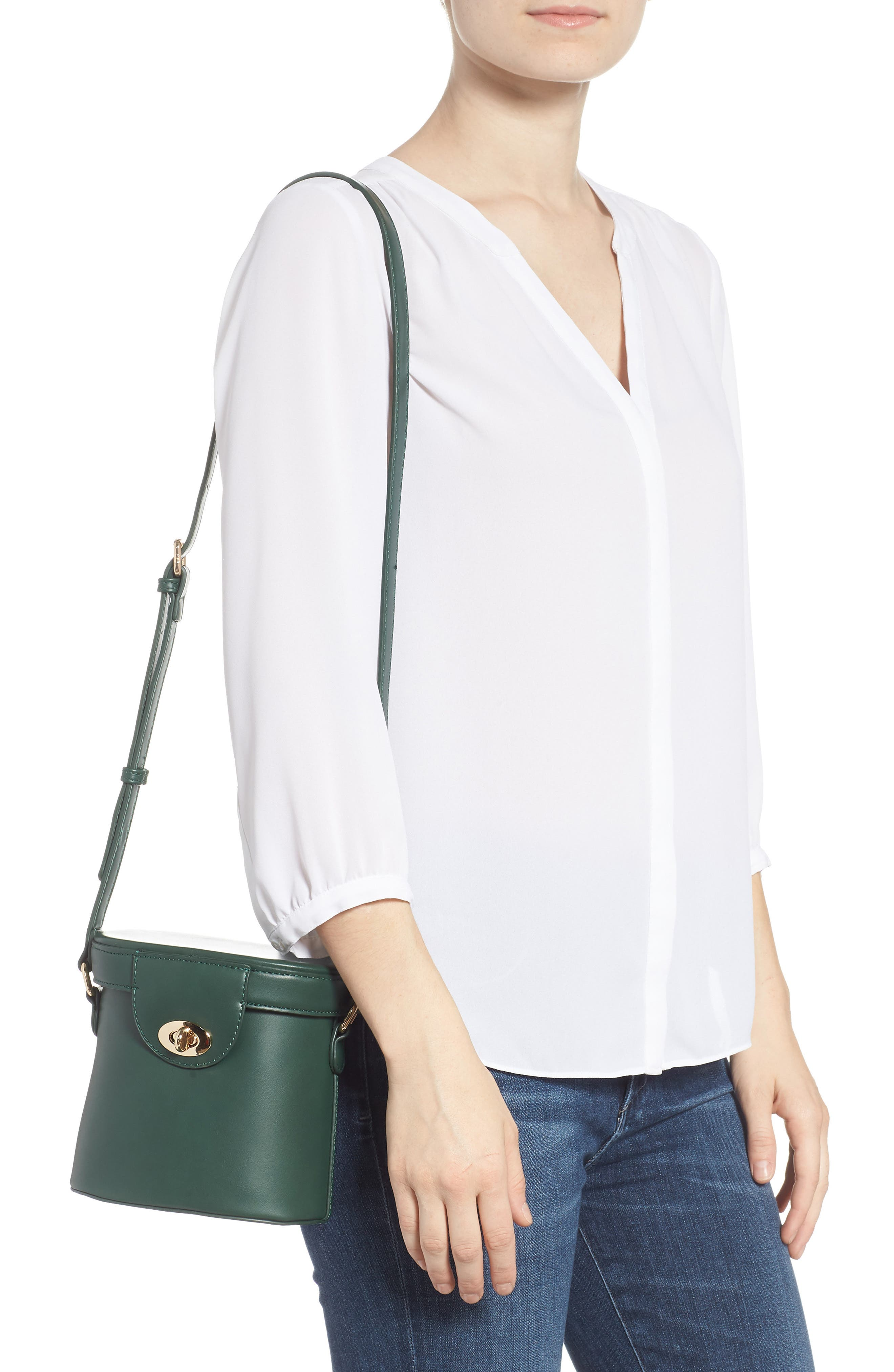 Faux Leather Bucket Bag,                             Alternate thumbnail 2, color,                             GREEN