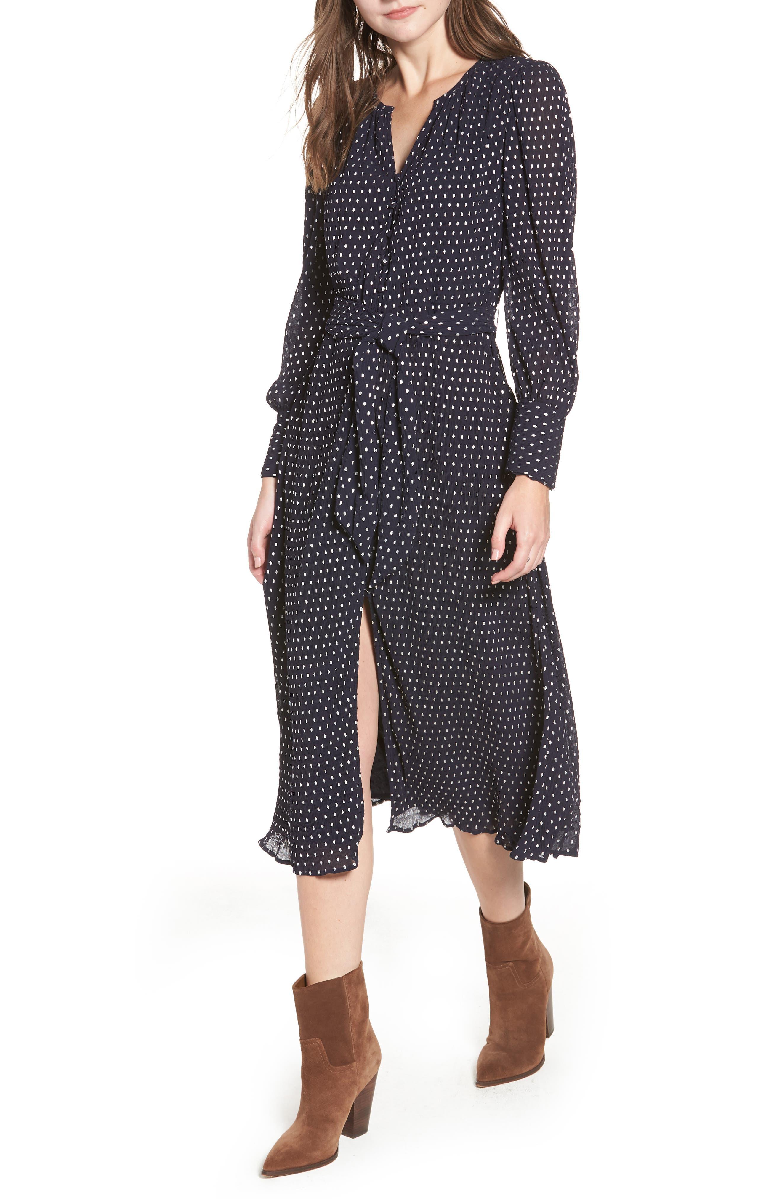 HINGE Foil Dot Midi Dress, Main, color, NAVY NIGHT