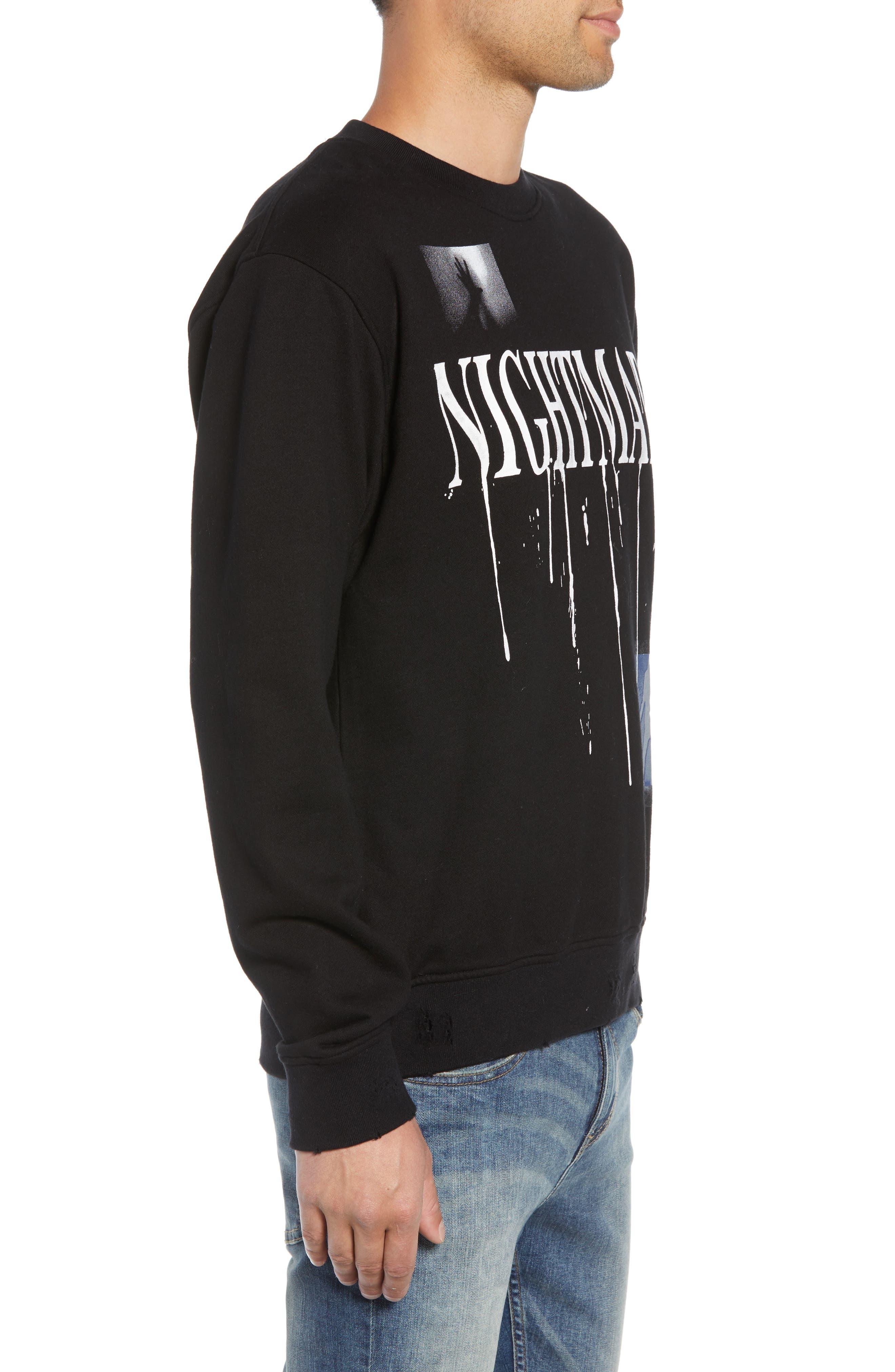Nightmare Graphic Distressed Sweatshirt,                             Alternate thumbnail 3, color,                             BLACK
