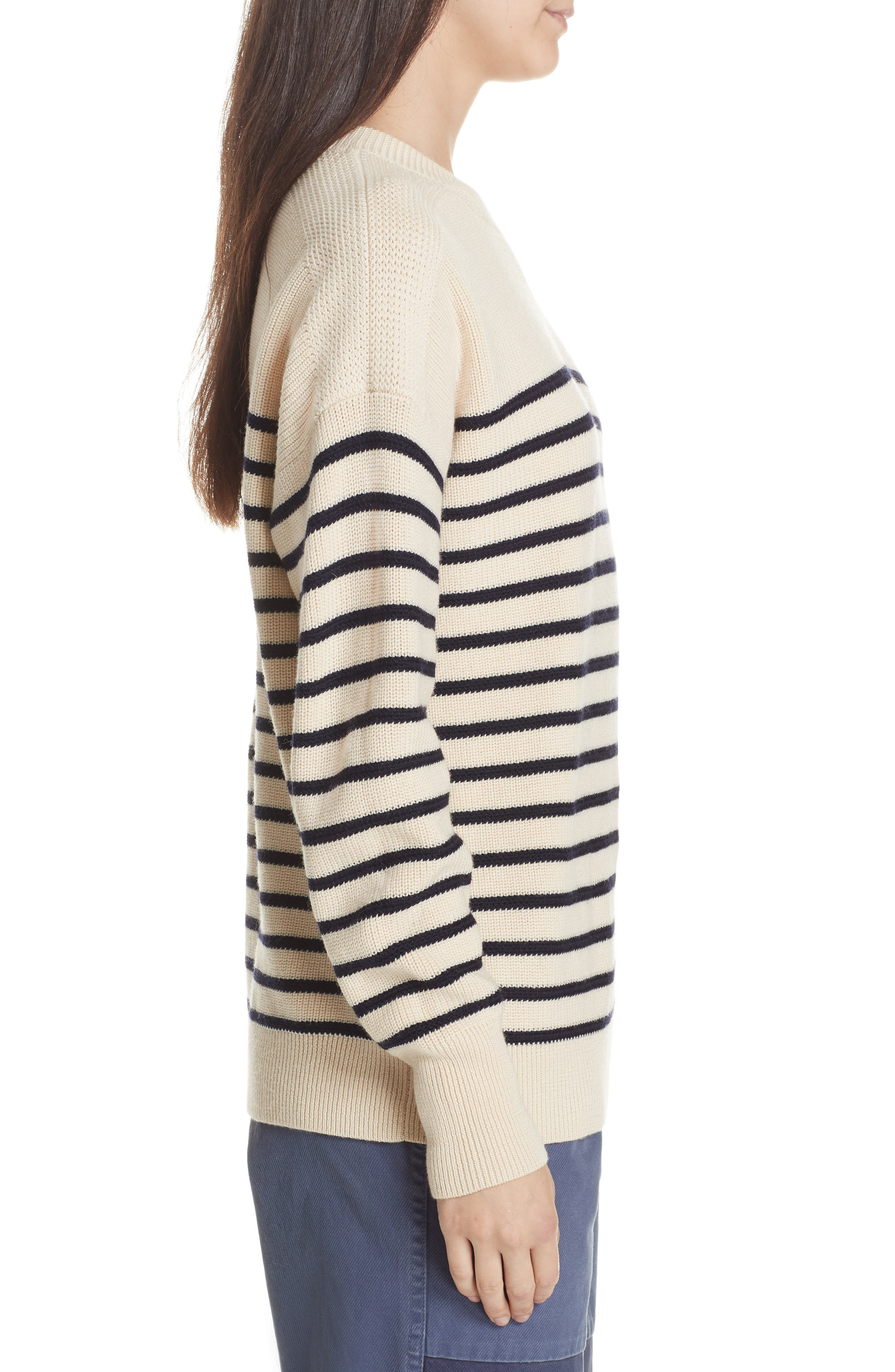 Stripe Wool Sweater,                             Alternate thumbnail 4, color,                             CREAM/ NAVY