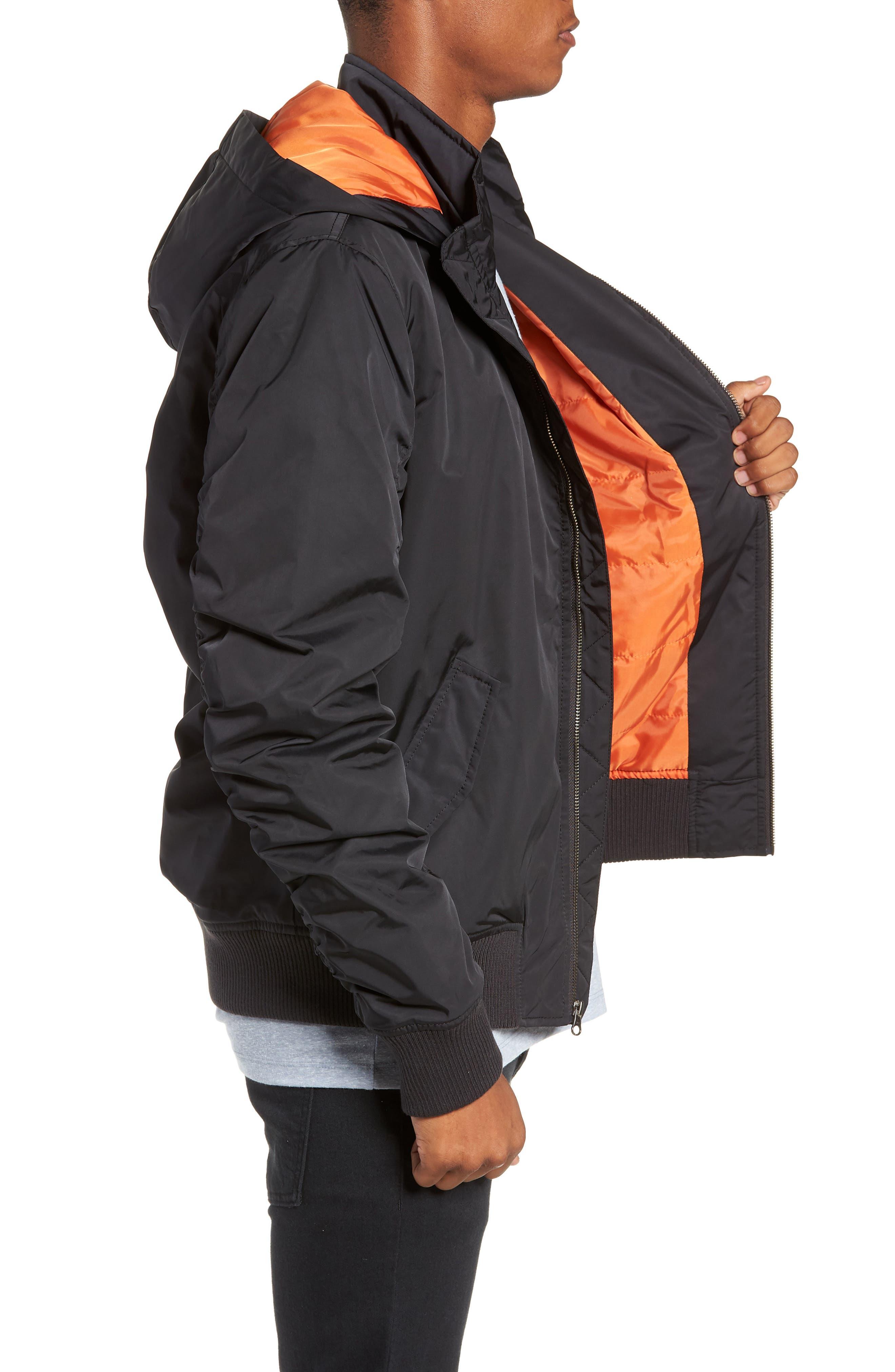 Hooded Nylon Bomber Jacket,                             Alternate thumbnail 3, color,                             BLACK ROCK