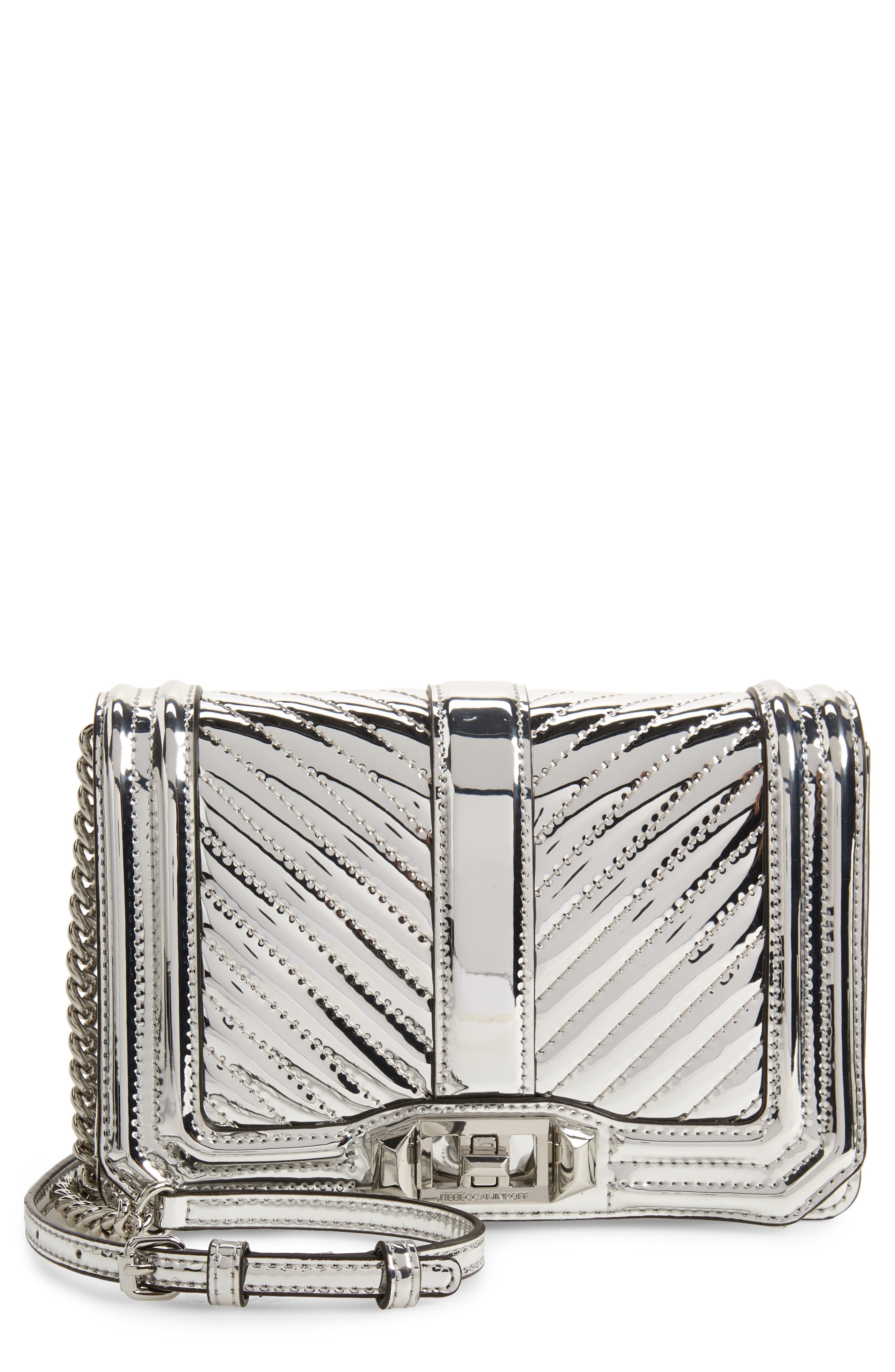 Small Love Quilted Metallic Crossbody,                         Main,                         color, SILVER