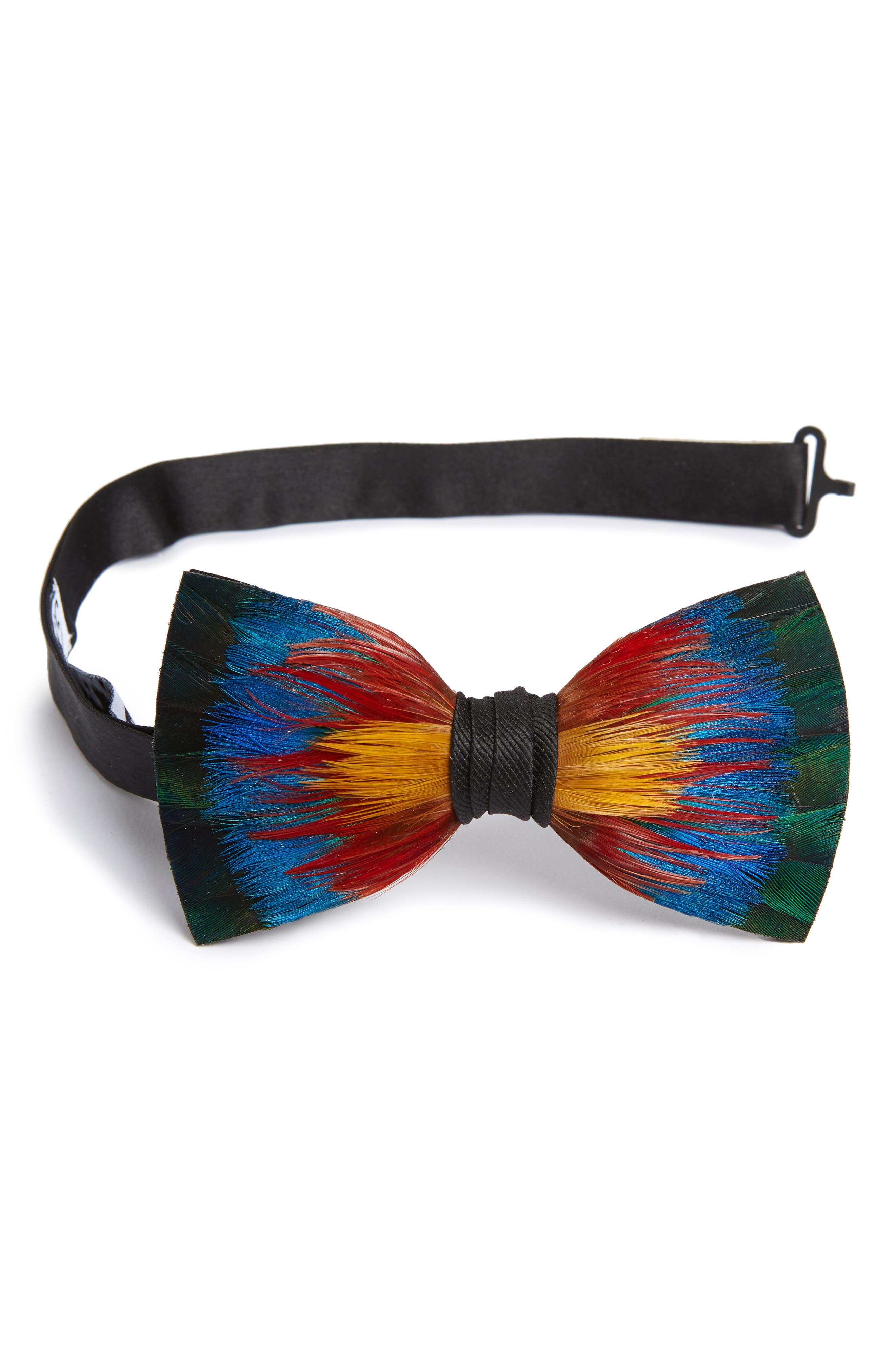 Spectrum Feather Bow Tie,                         Main,                         color, BLUE