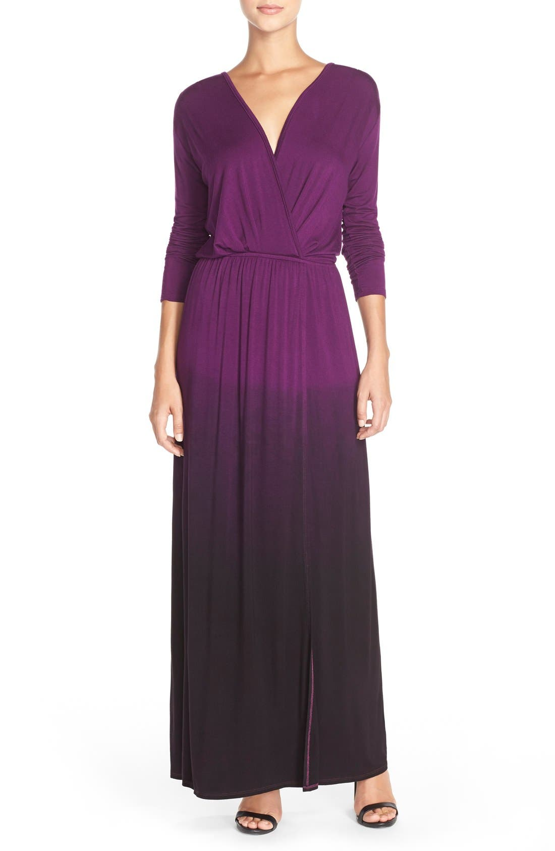 Tie Dye Faux Wrap Maxi Dress,                         Main,                         color, PURPLE/ BLACK OMBRE