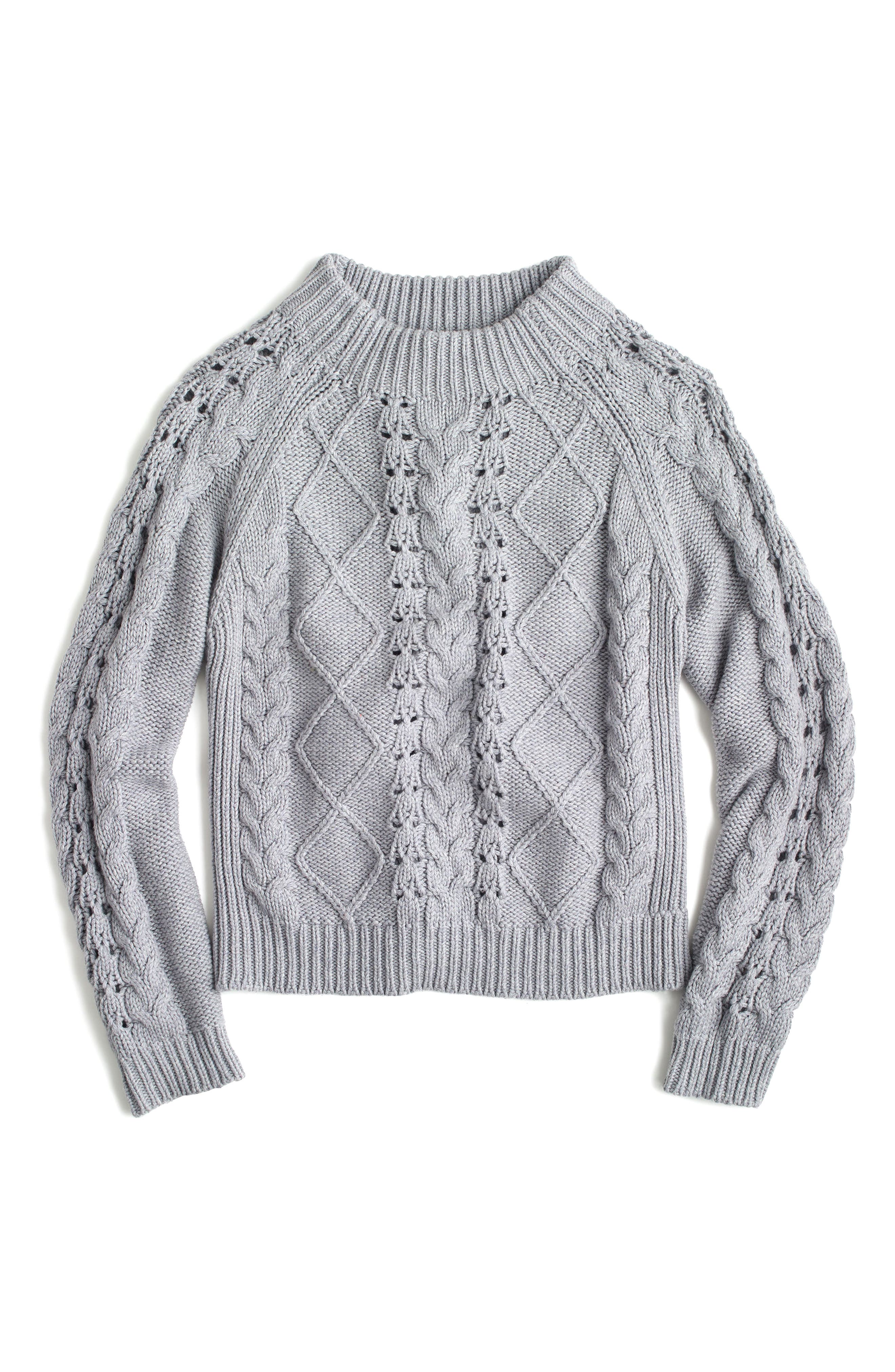 Cable Knit Mock Neck Sweater,                             Main thumbnail 1, color,                             020