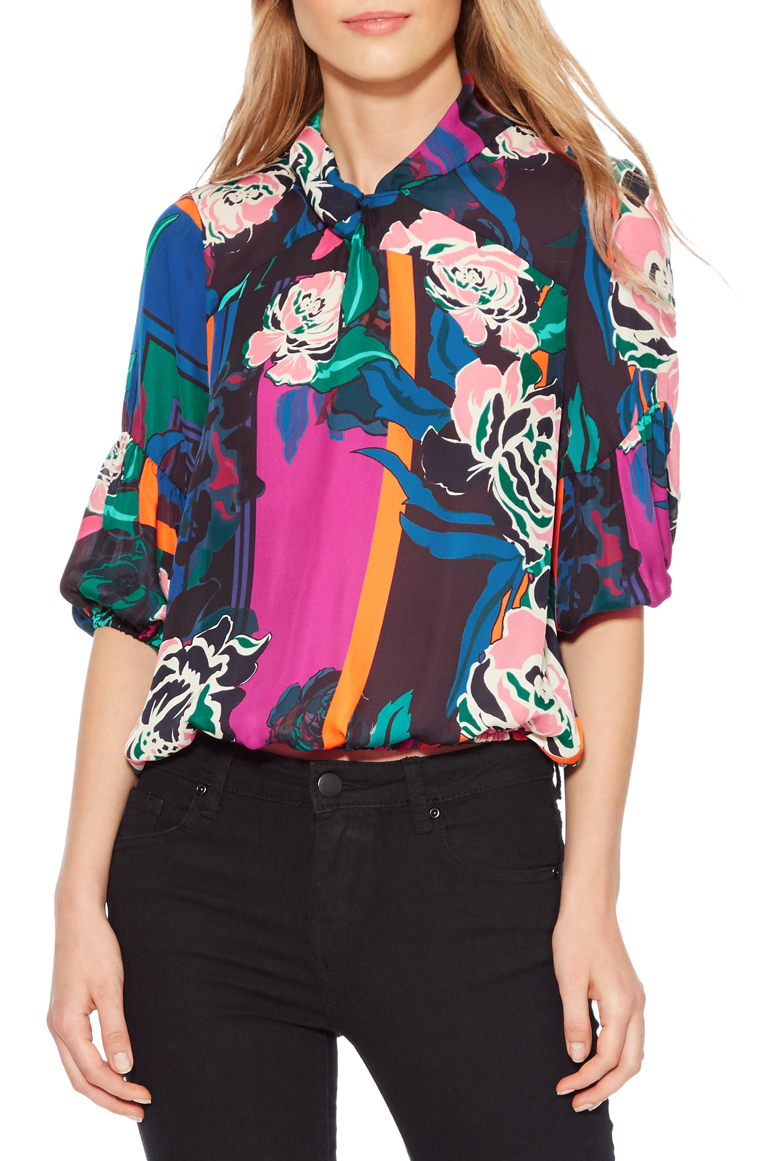 Olsen Floral Print Blouse,                         Main,                         color, IRVING ROSE