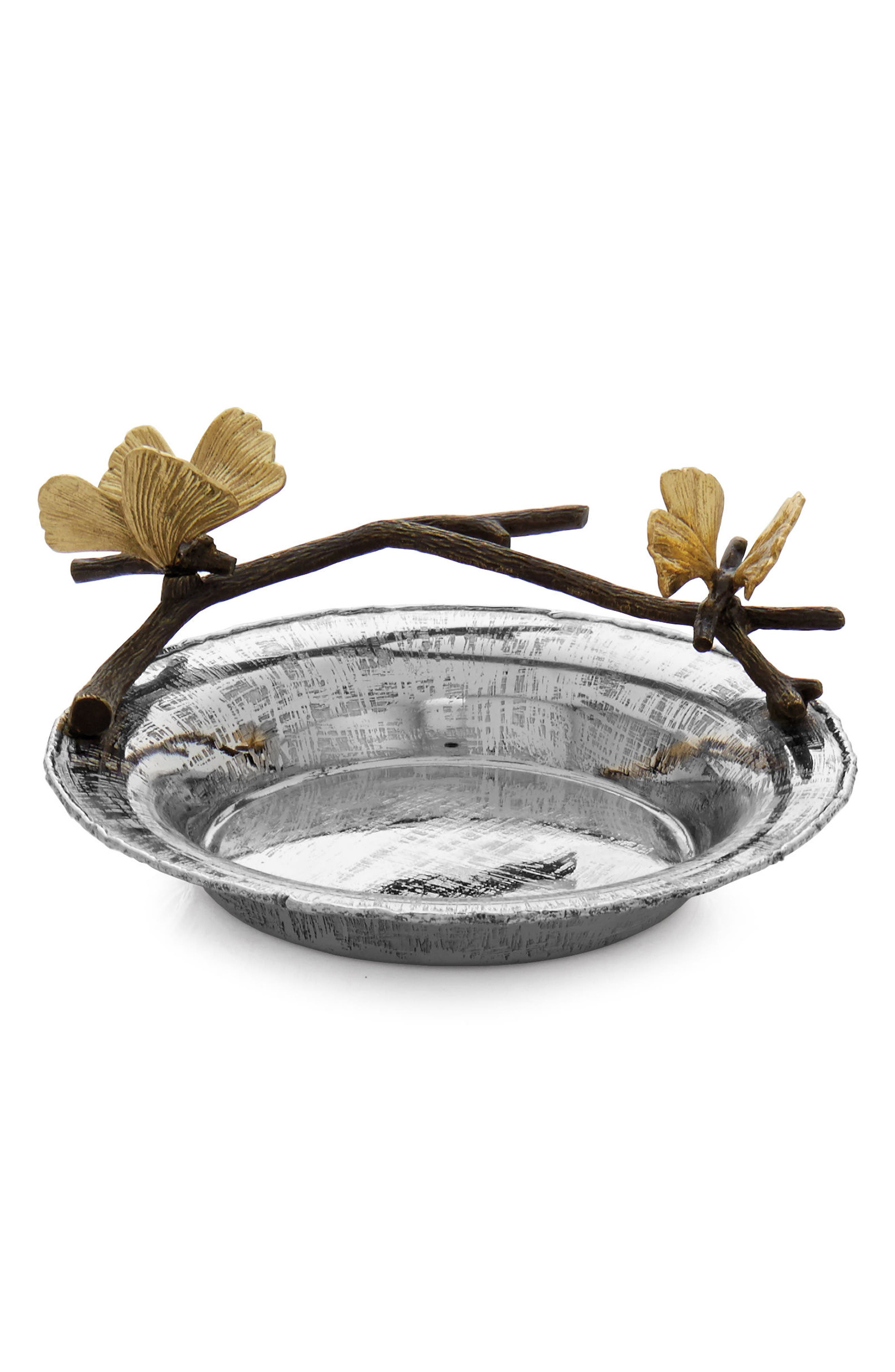 Butterfly Ginkgo Wine Coaster,                             Main thumbnail 1, color,                             SILVER
