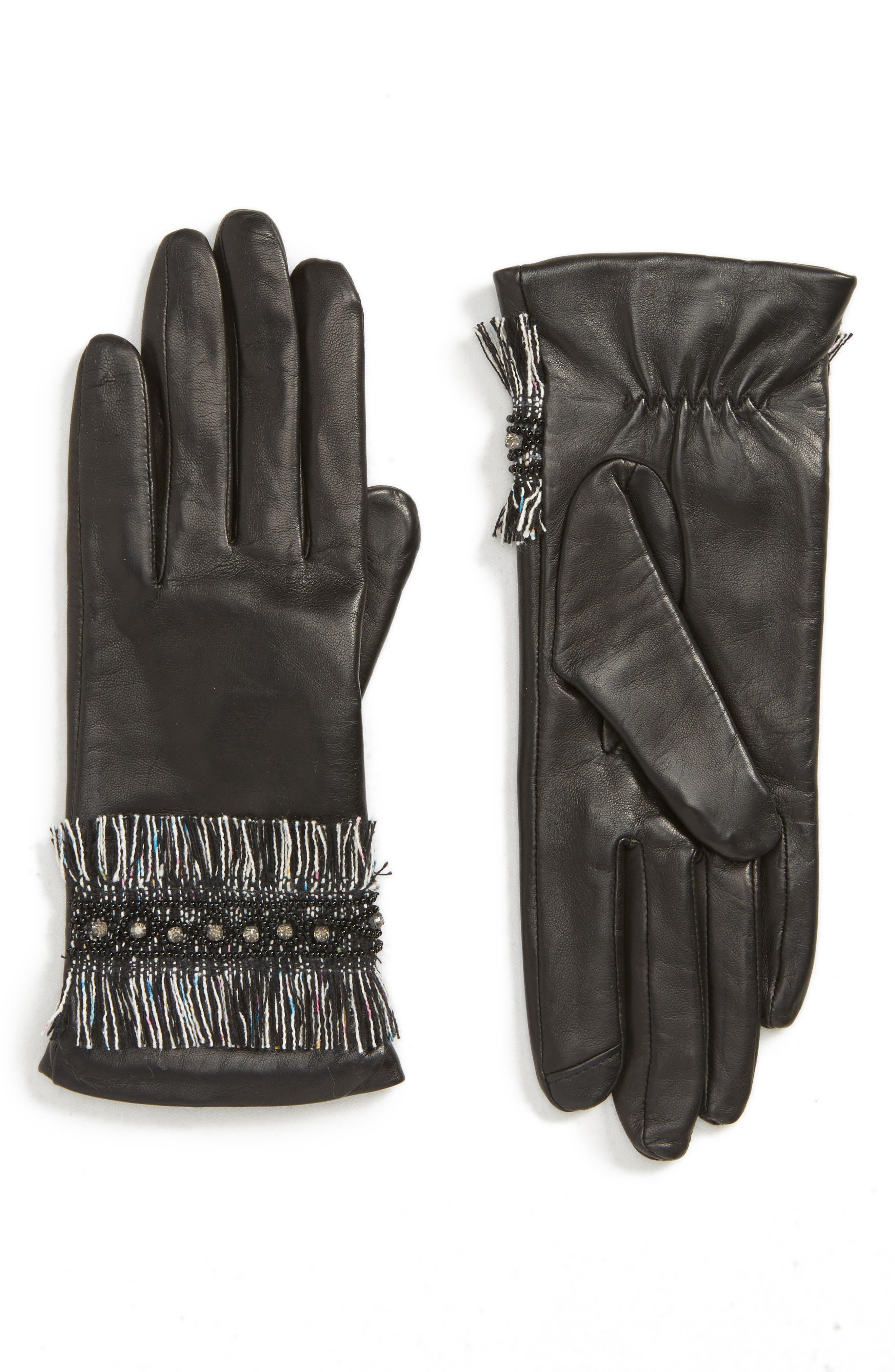 Badgley Mischka Fringe Cuff Leather Touchscreen Gloves, Black