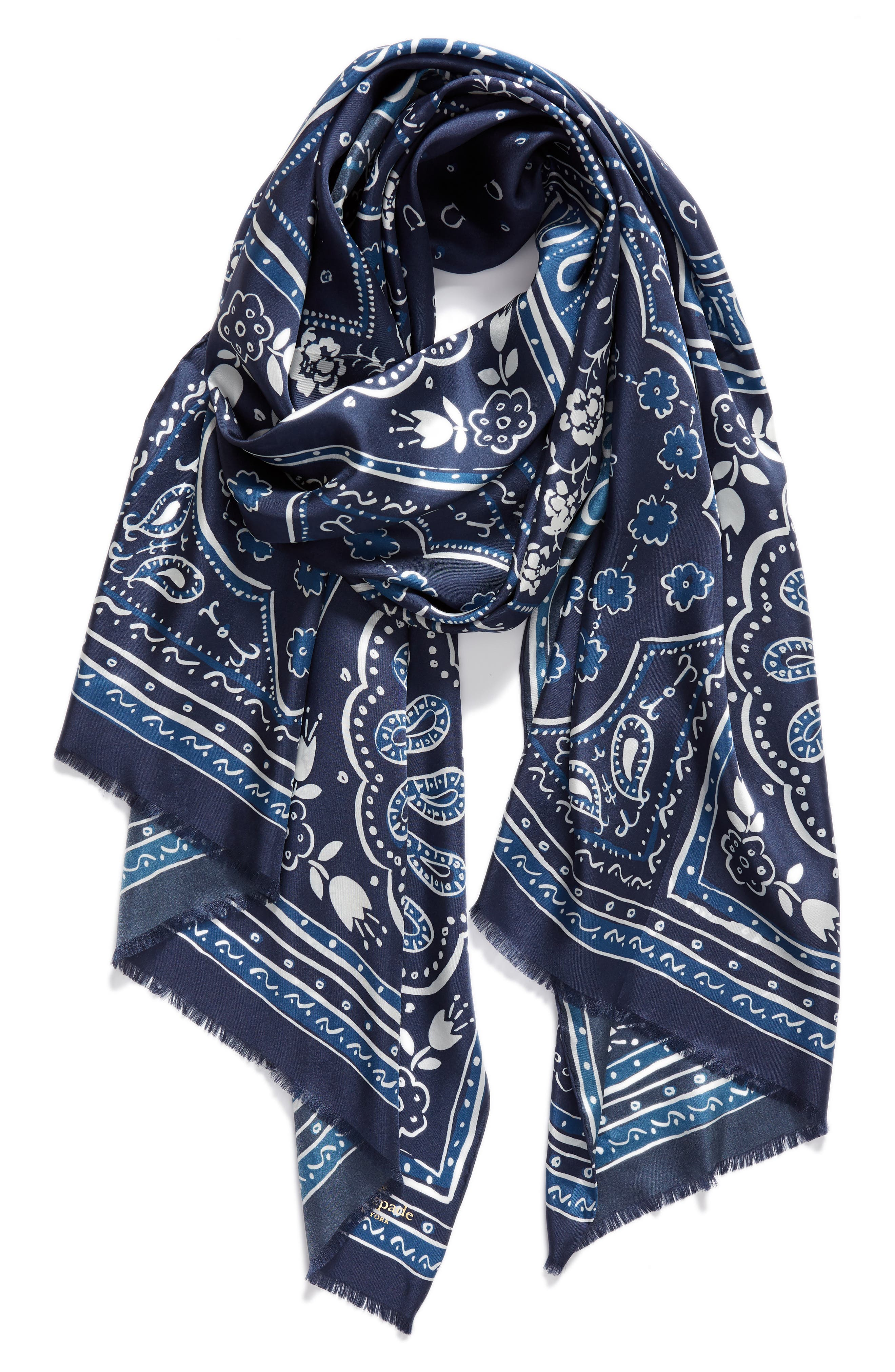 bandana silk oblong scarf,                             Alternate thumbnail 2, color,                             VOYAGE BLUE