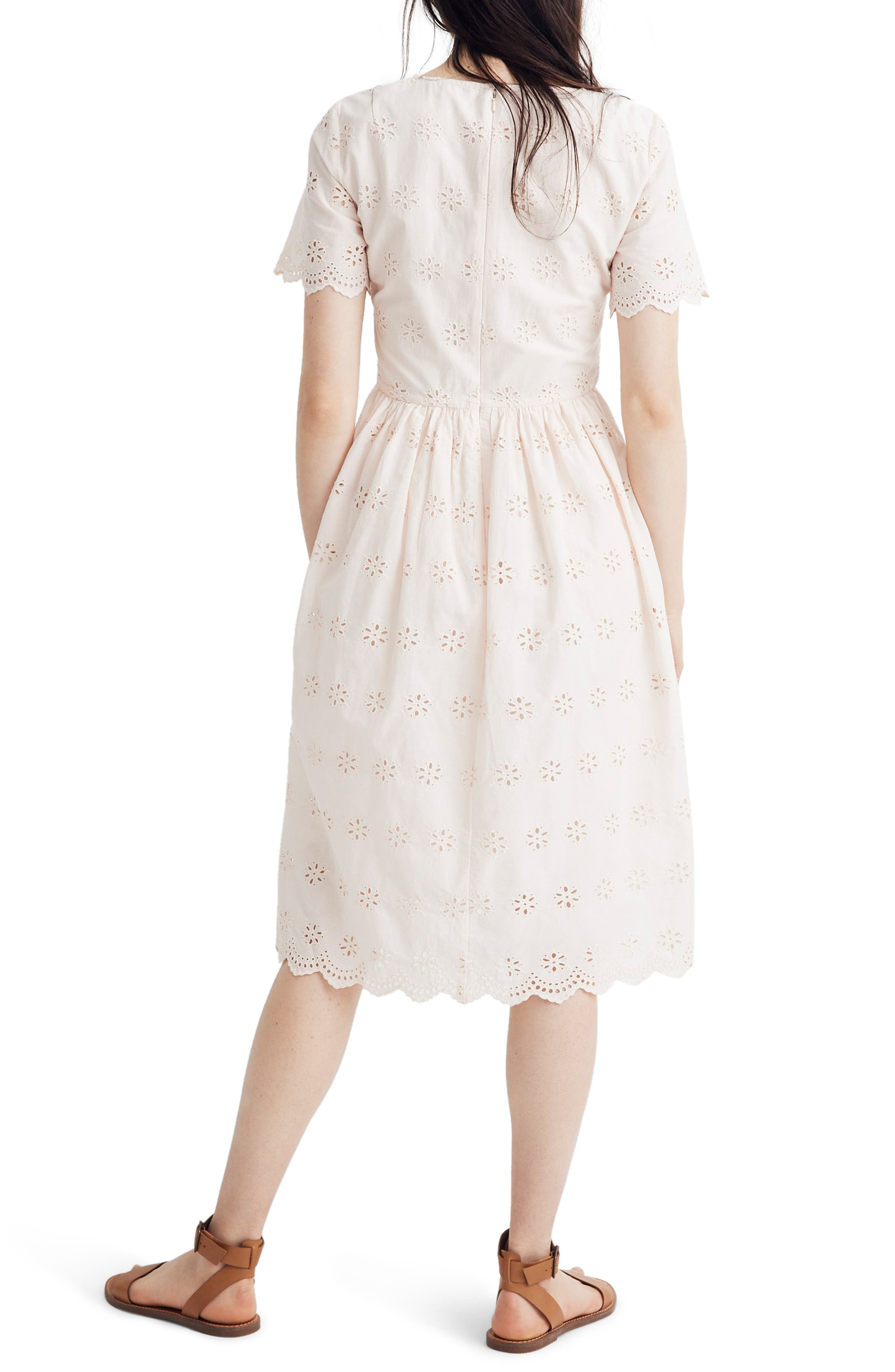 Madewell Scallop Eyelet Midi Dress, Pink