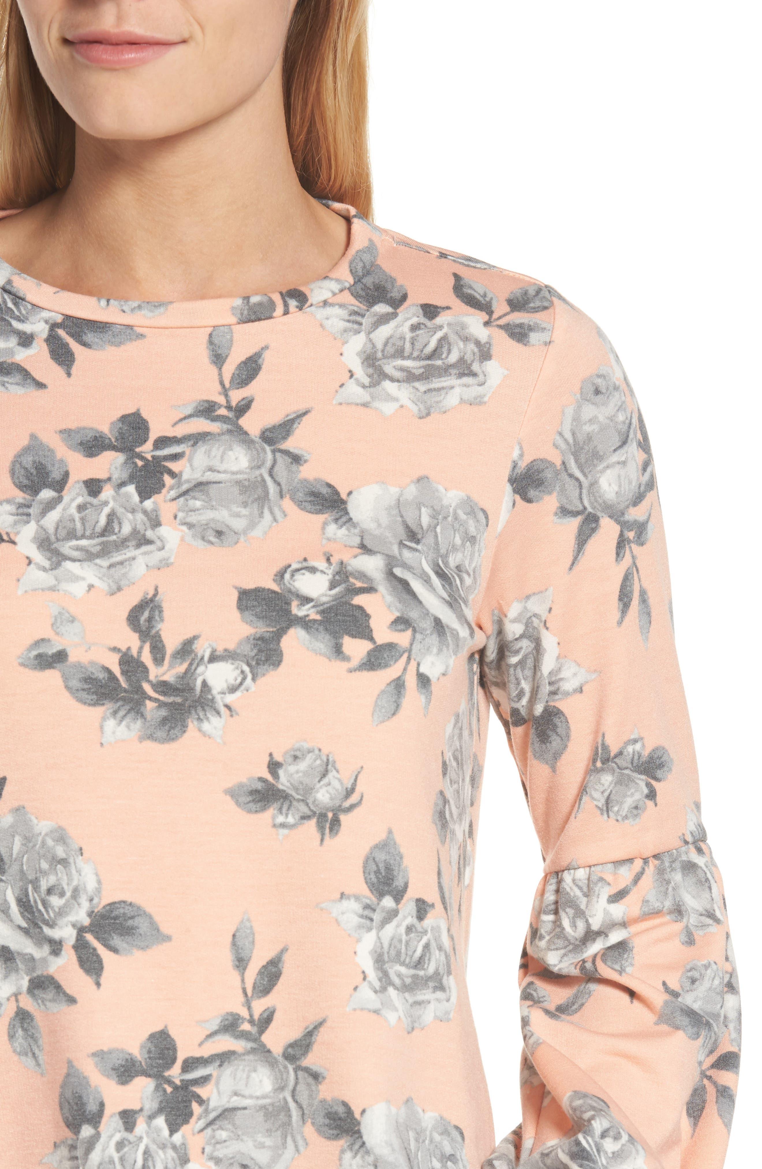 Floral Print Balloon Sleeve Sweatshirt,                             Alternate thumbnail 15, color,