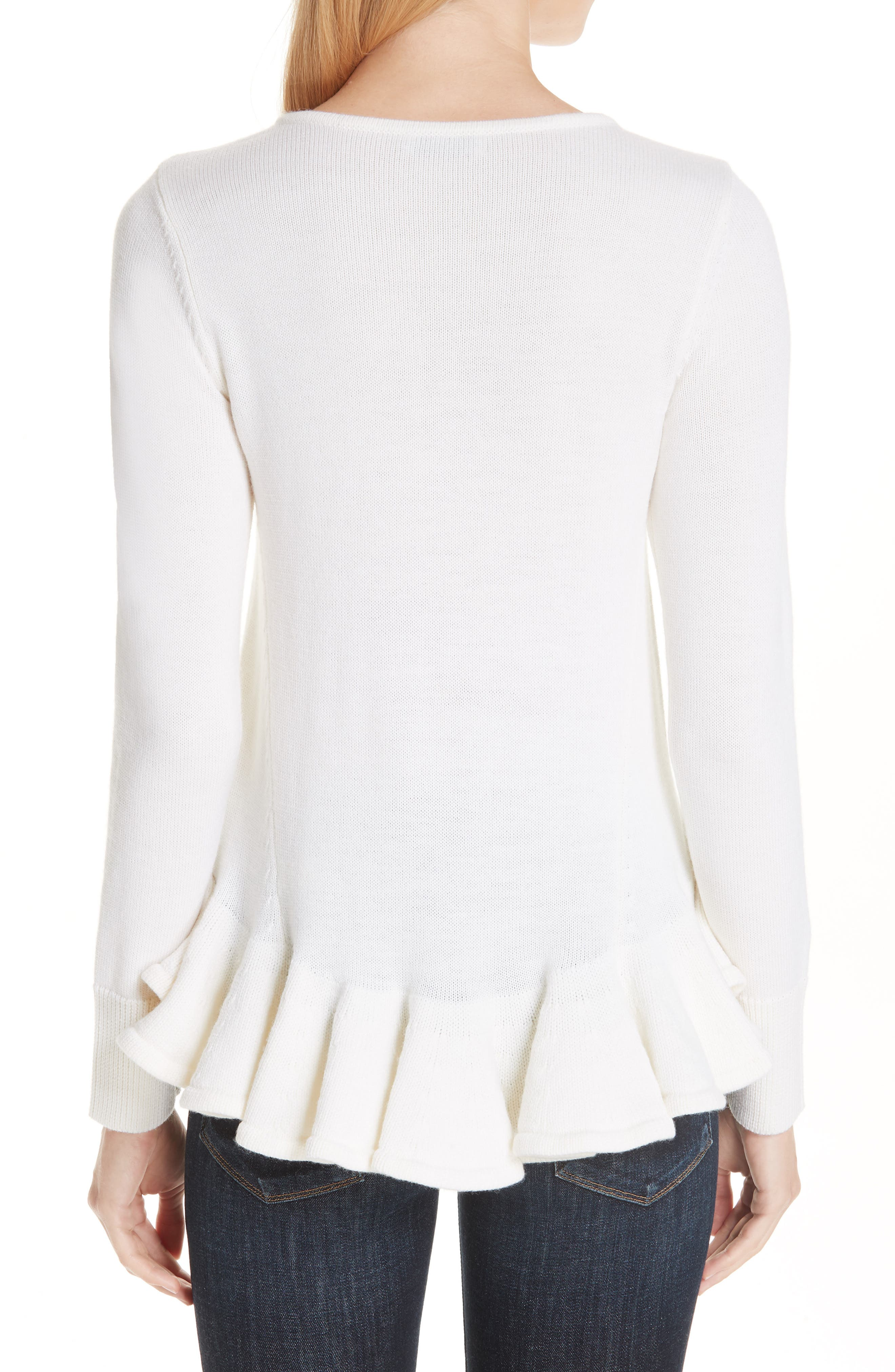 Ruffle Peplum Wool Sweater,                             Alternate thumbnail 2, color,                             IVORY