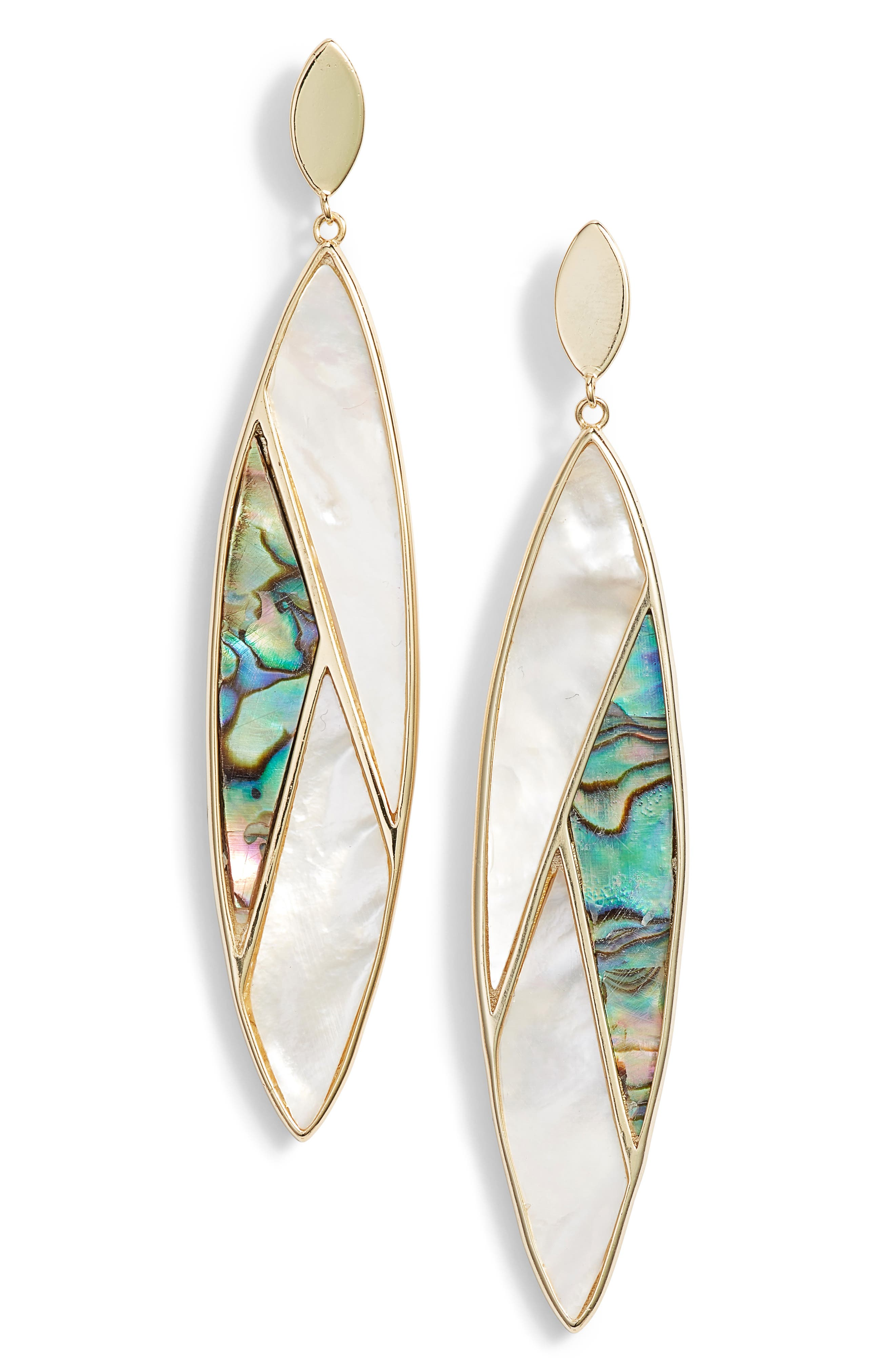 ARGENTO VIVO Mother-Of-Pearl Mosaic Marquise Drop Earrings In 18K Gold-Plated Sterling Silver