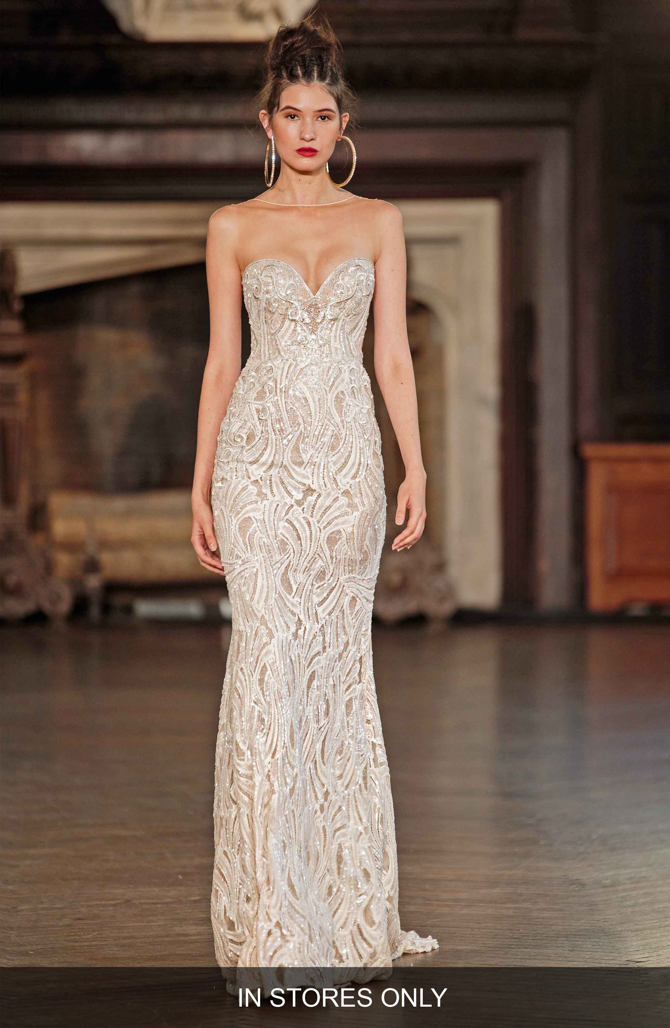 Illusion Beaded Mermaid Gown,                             Main thumbnail 1, color,                             IVORY