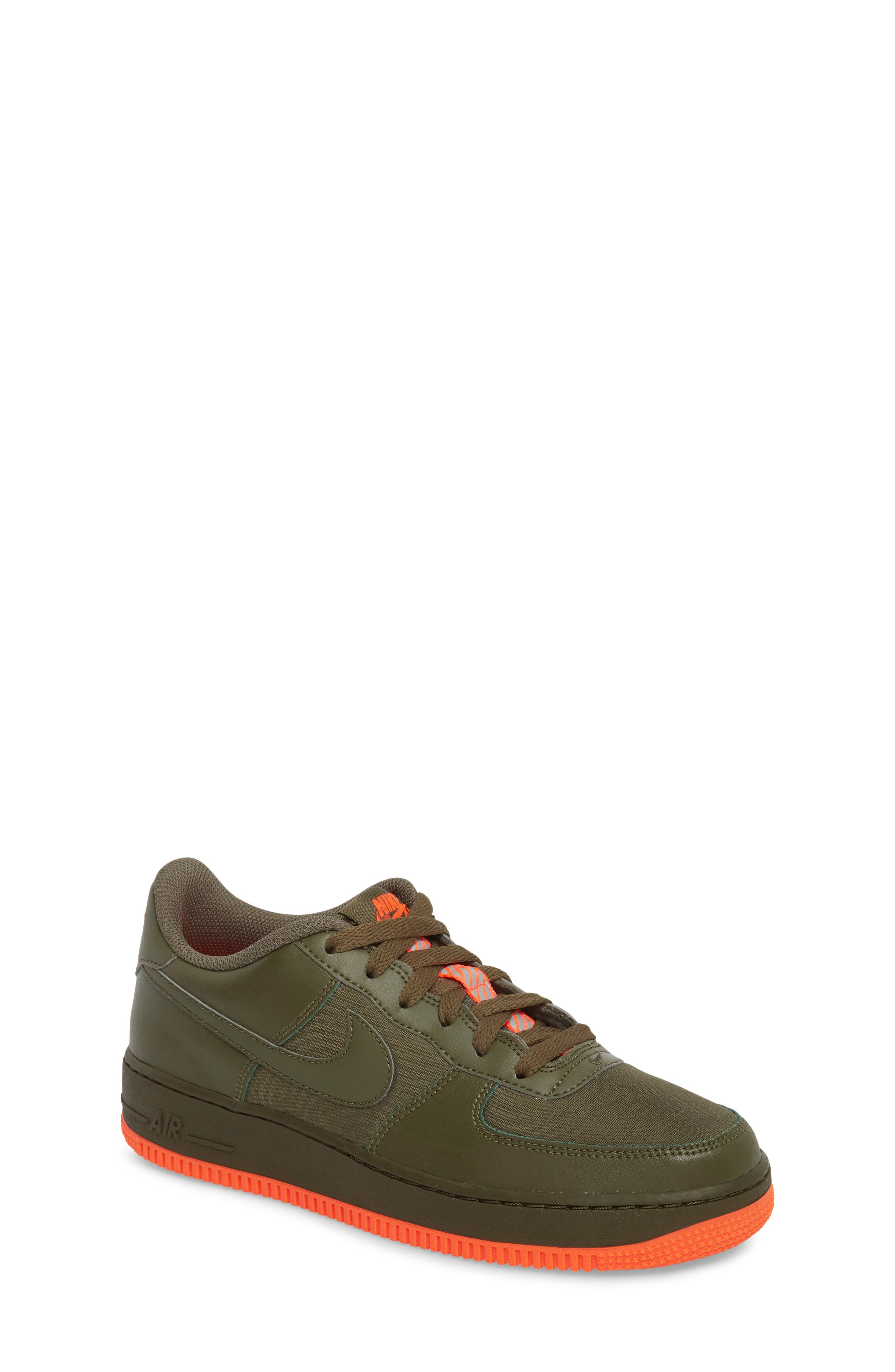 Air Force 1 LV8 Sneaker,                         Main,                         color, MEDIUM OLIVE/ TOTAL CRIMSON