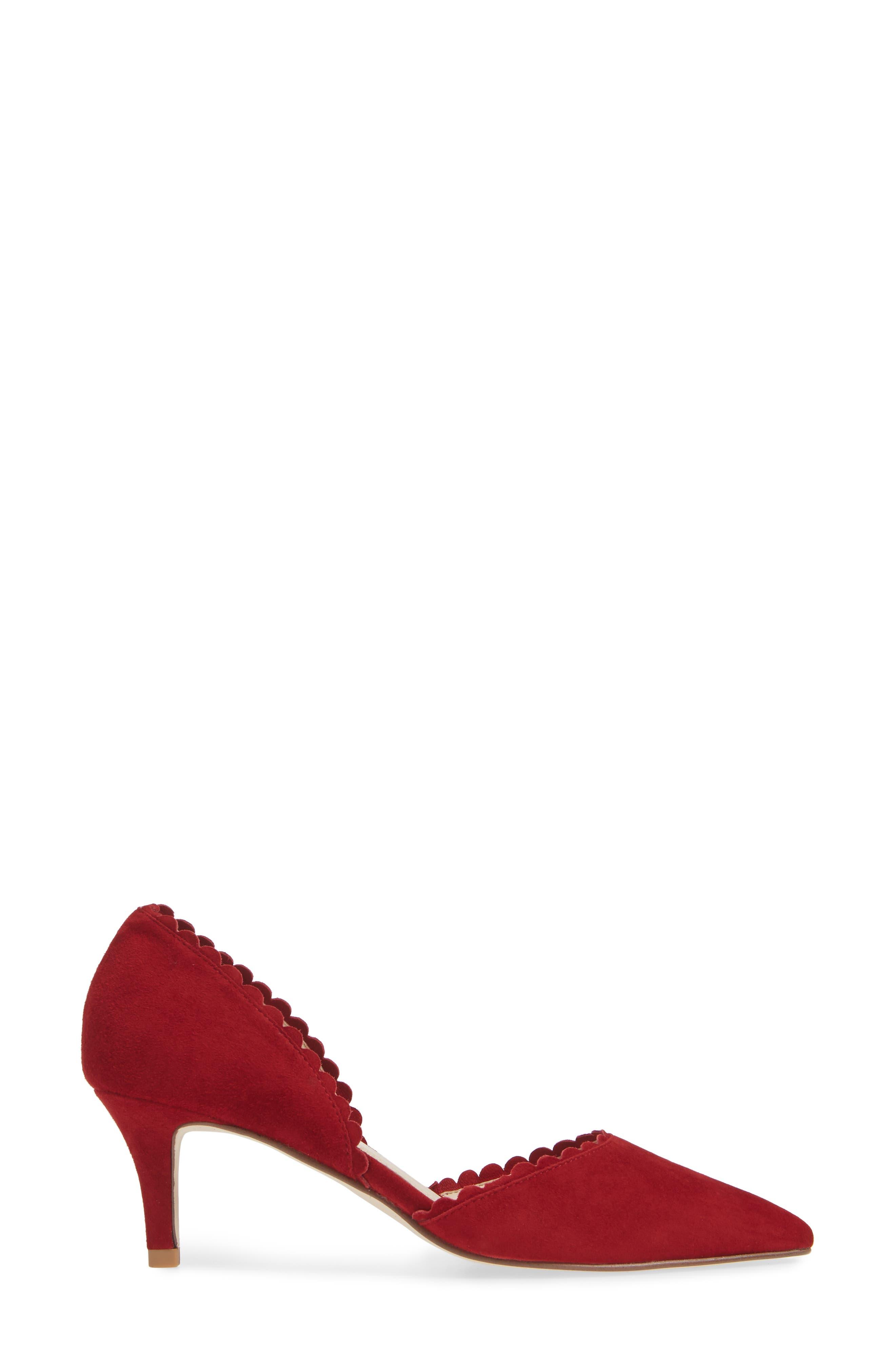 Kenny d'Orsay Pump,                             Alternate thumbnail 3, color,                             SCARLET SUEDE