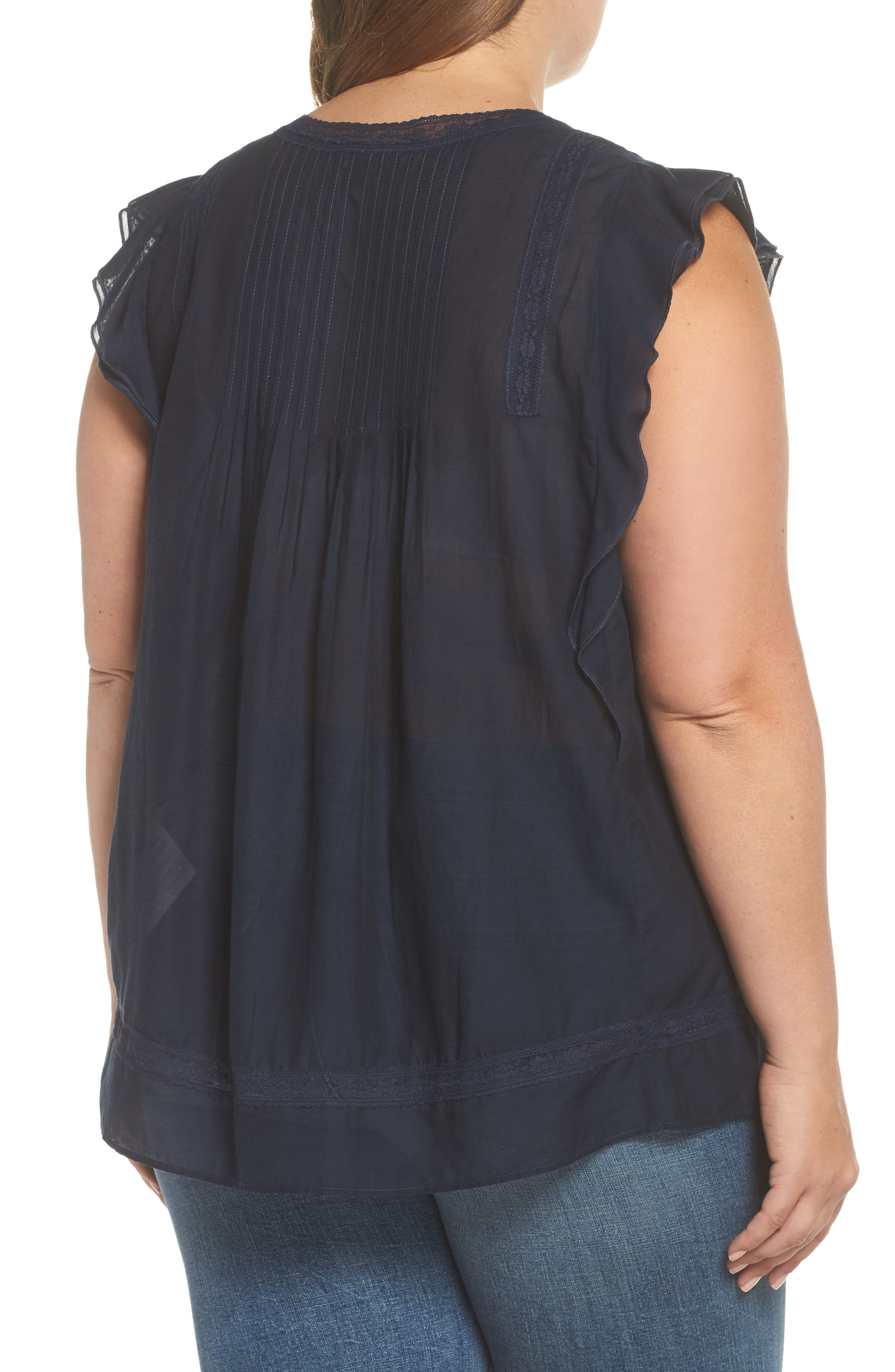 Flutter Sleeve Pintuck Top,                             Alternate thumbnail 2, color,                             AMERICAN NAVY