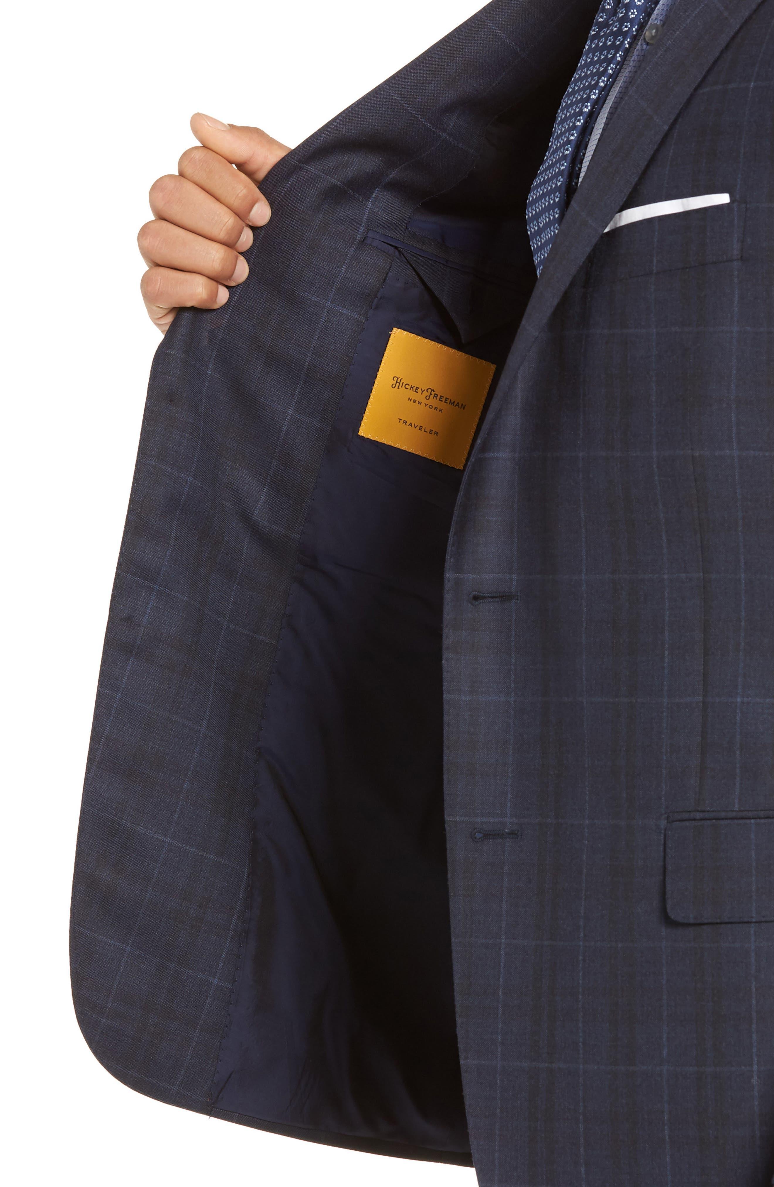 Classic Fit Plaid Wool Suit,                             Alternate thumbnail 4, color,                             DARK BLUE