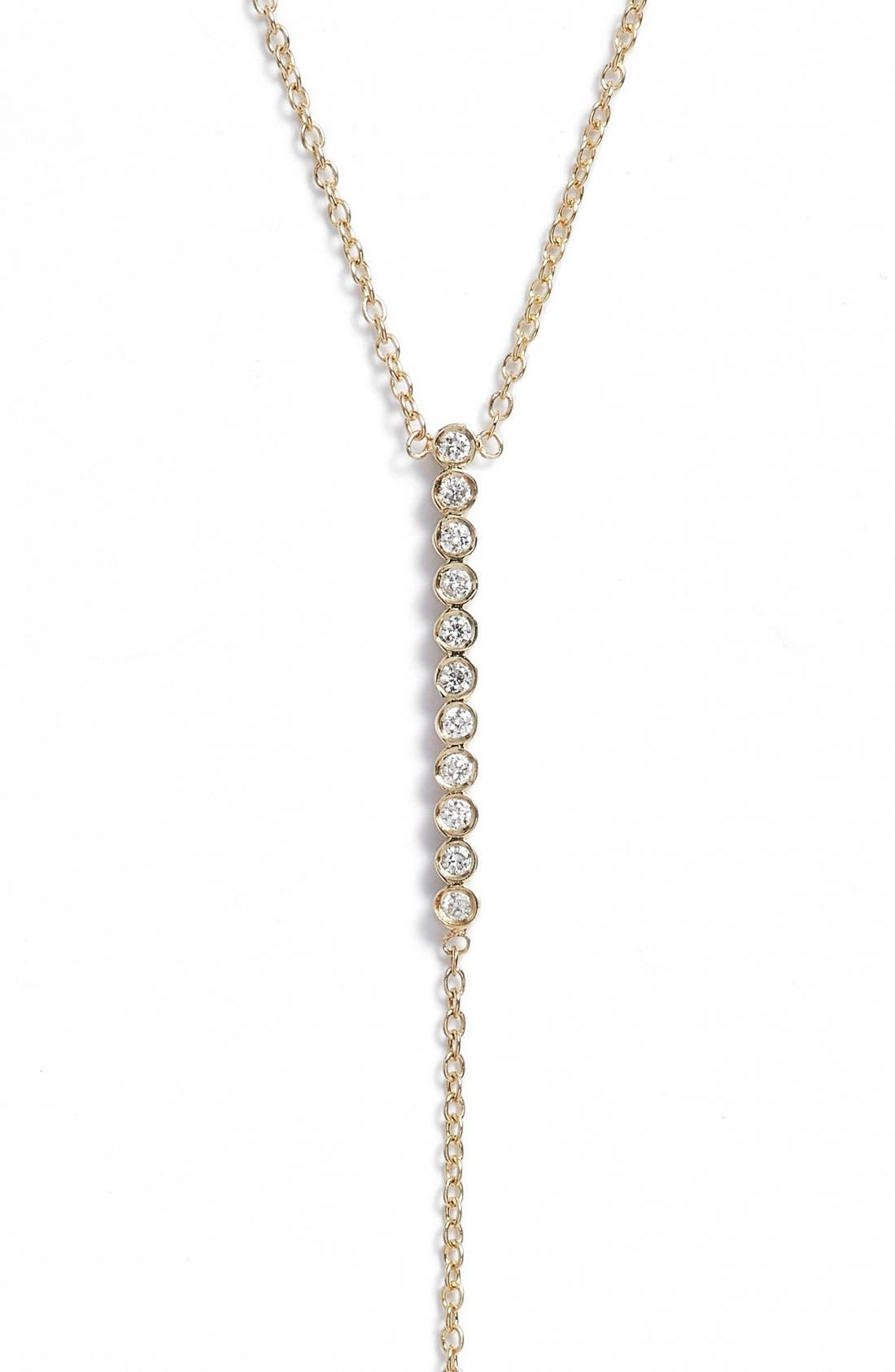 Diamond Bar Y-Necklace,                             Main thumbnail 1, color,                             YELLOW GOLD