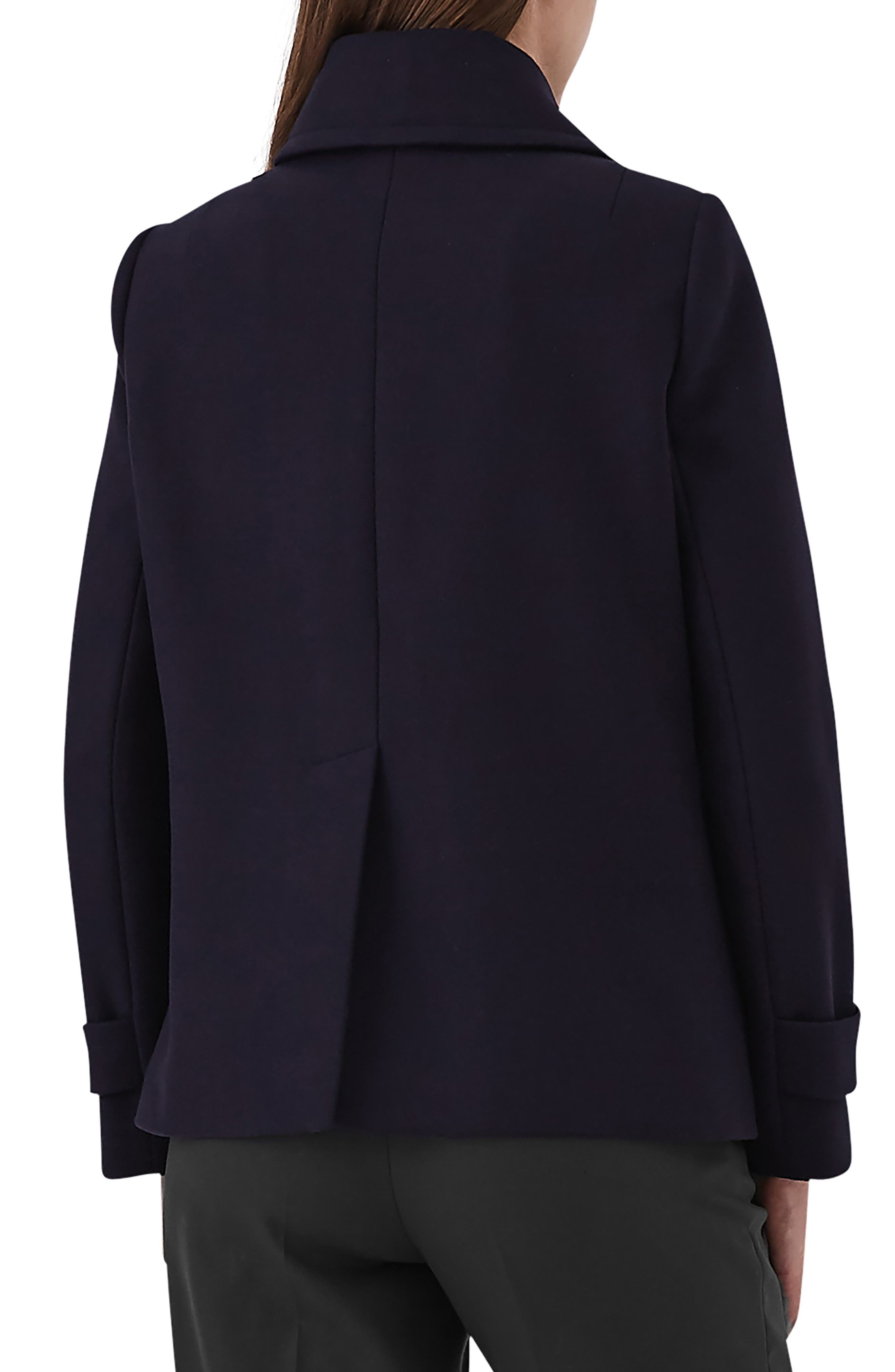 Becall Double Breasted Wool Blend Peacoat,                             Alternate thumbnail 2, color,                             NAVY
