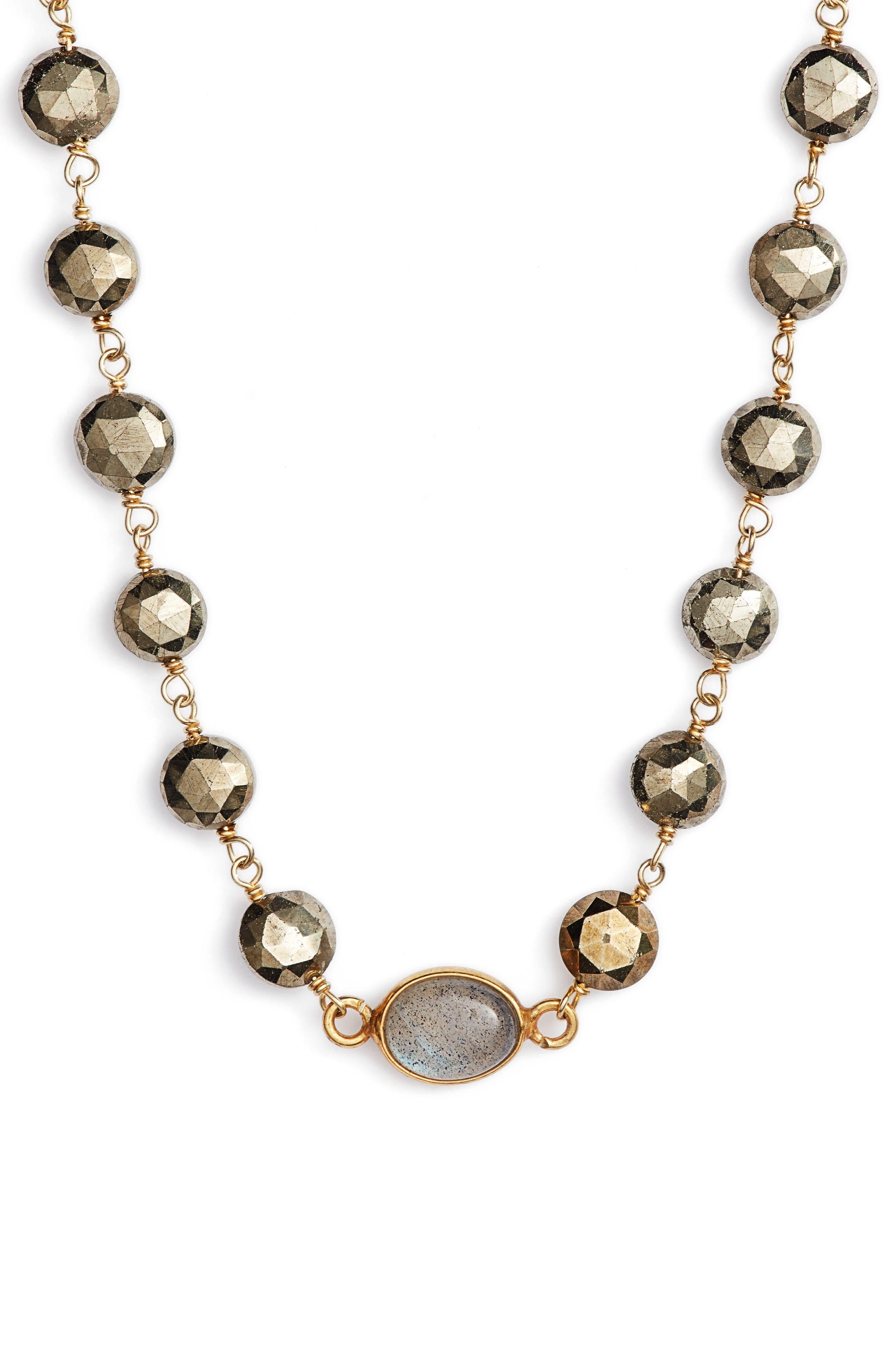 Beaded Collar Necklace,                         Main,                         color, PYRITE/ LABRADORITE