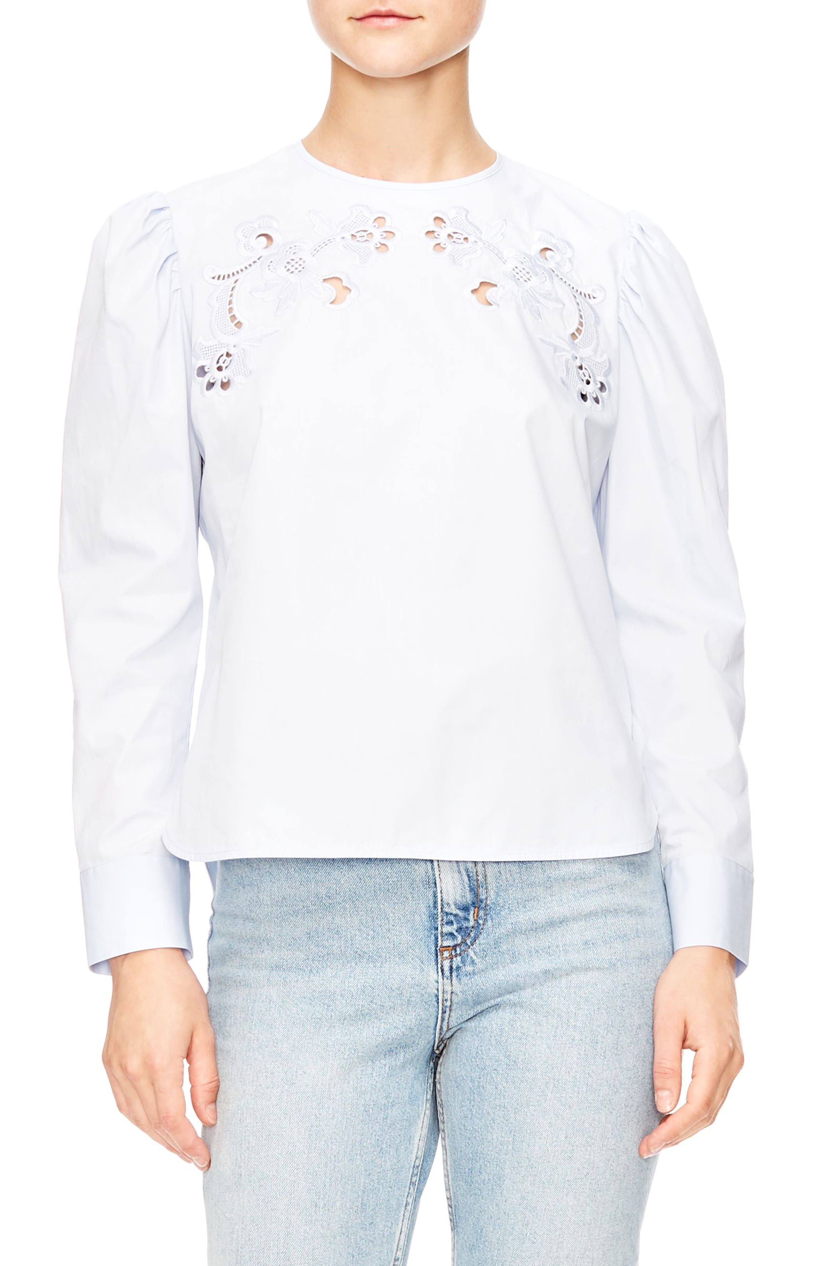 Embroidered Cutout Blouse,                         Main,                         color, 401