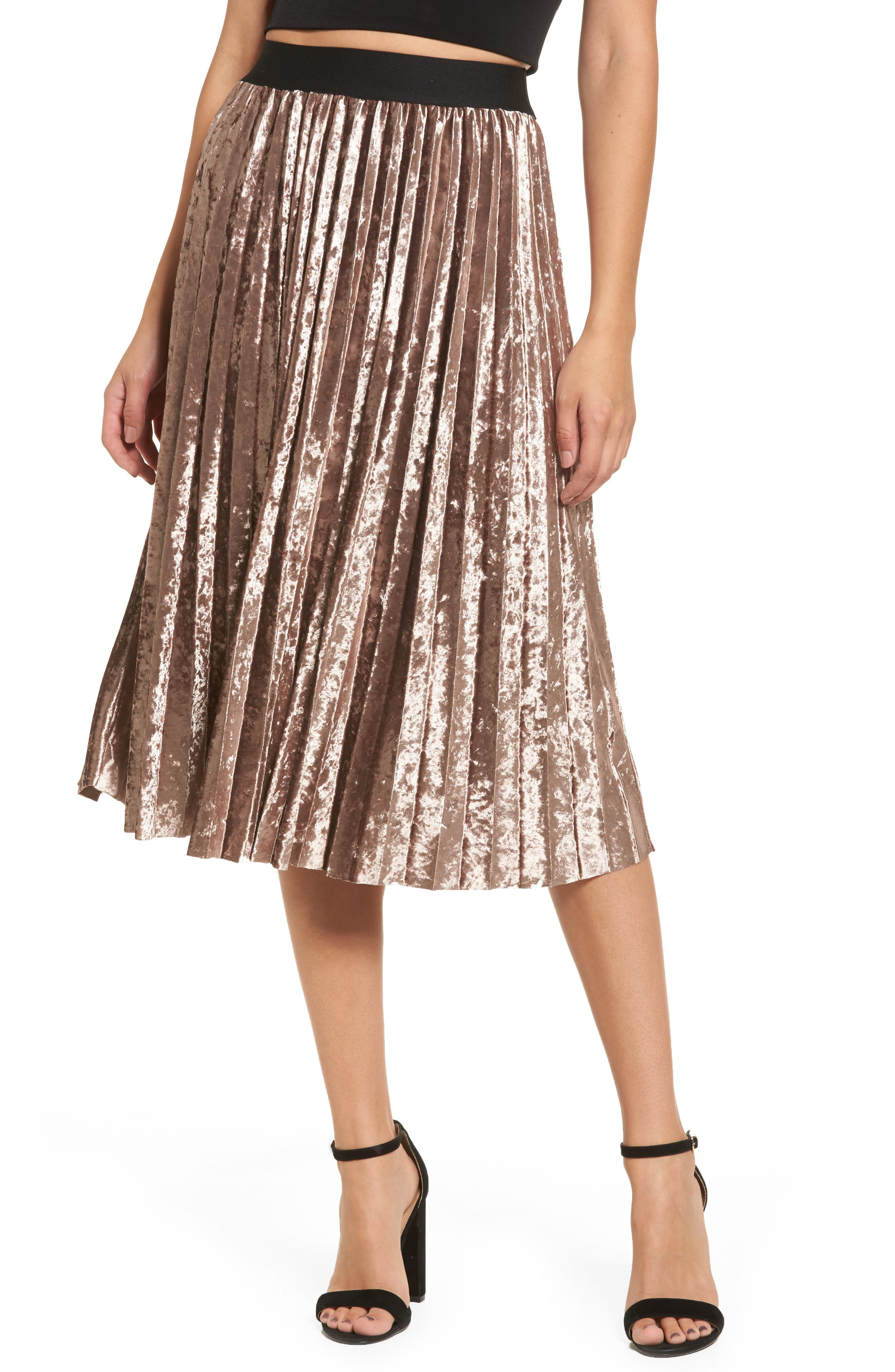 Pleated Velvet Skirt,                         Main,                         color,