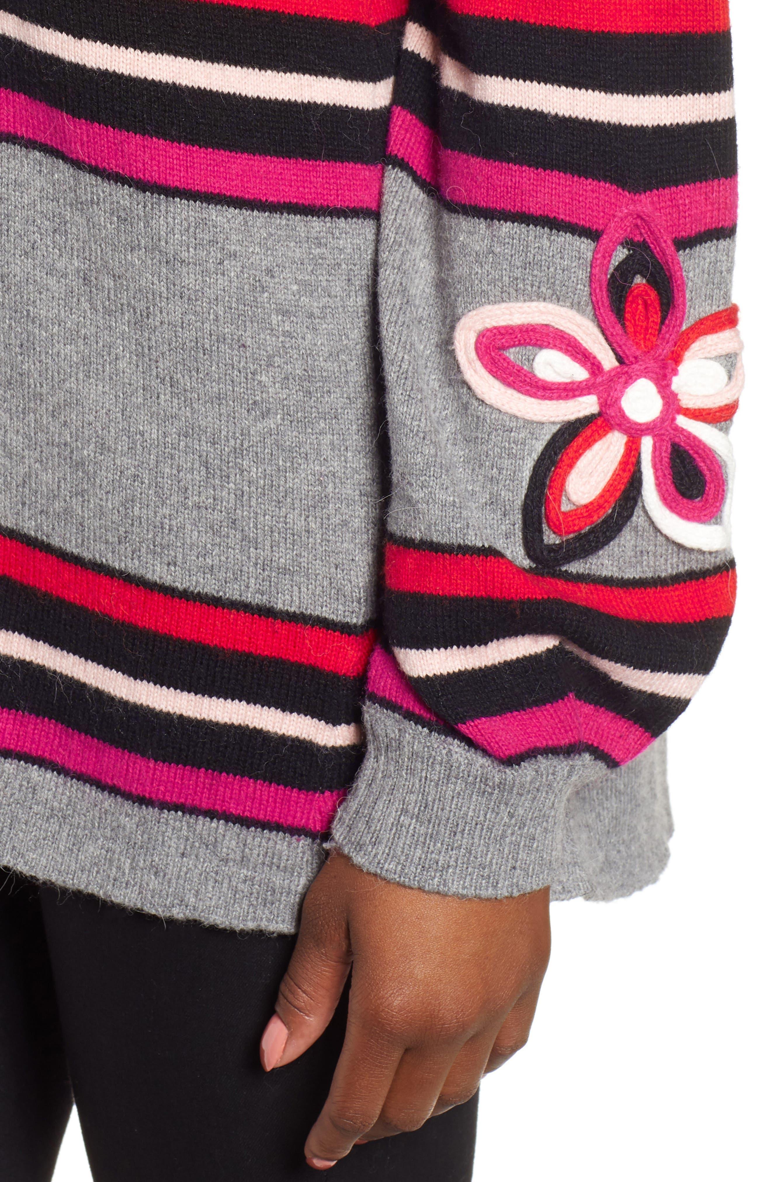 WIT & WISDOM,                             Flower Appliqué Cotton Alpaca Blend Cardigan,                             Alternate thumbnail 4, color,                             645