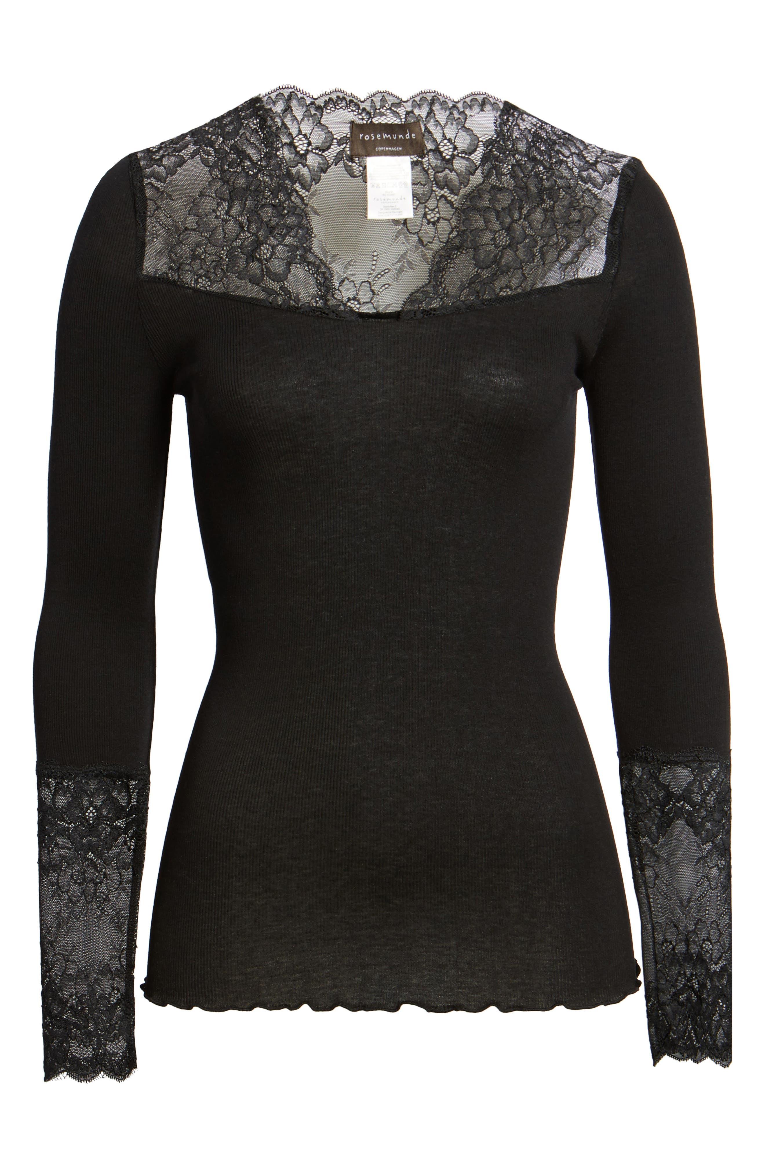 Brigit Lace Embellished Silk Blend Top,                             Alternate thumbnail 6, color,                             BLACK