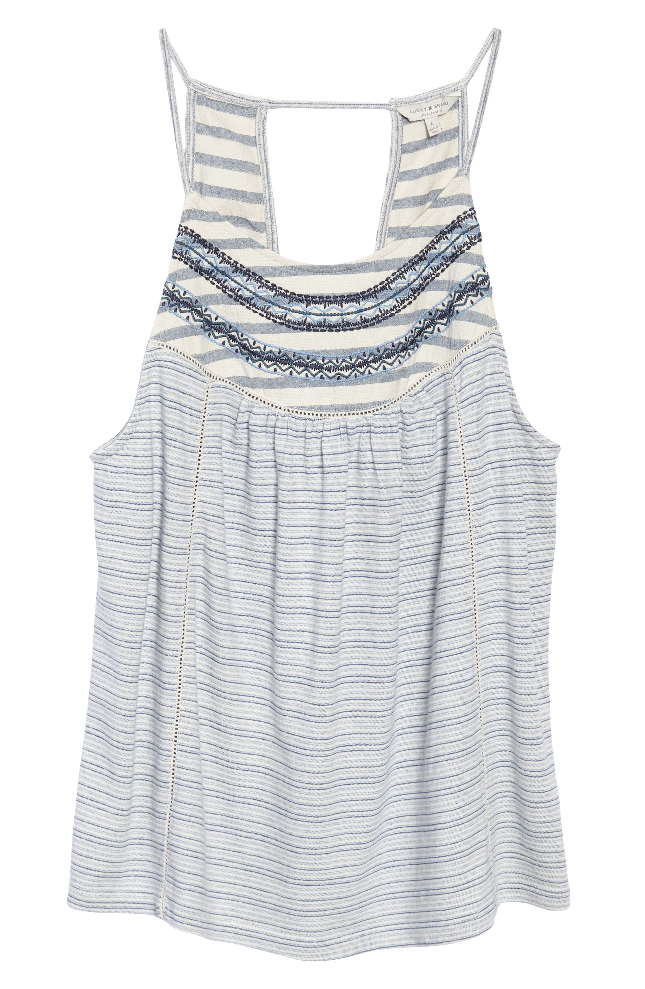 Stripe Mix Embroidered Tank,                             Alternate thumbnail 6, color,                             400