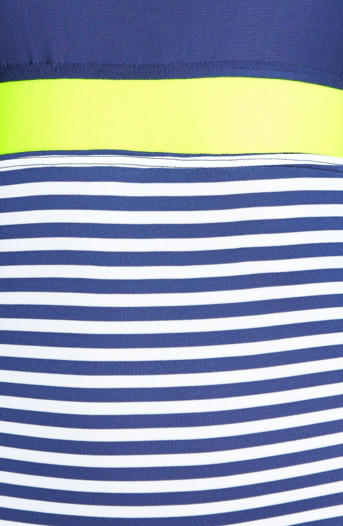 'Malibu Stripe' Underwire Bandeau One-Piece Swimsuit,                             Alternate thumbnail 2, color,                             400