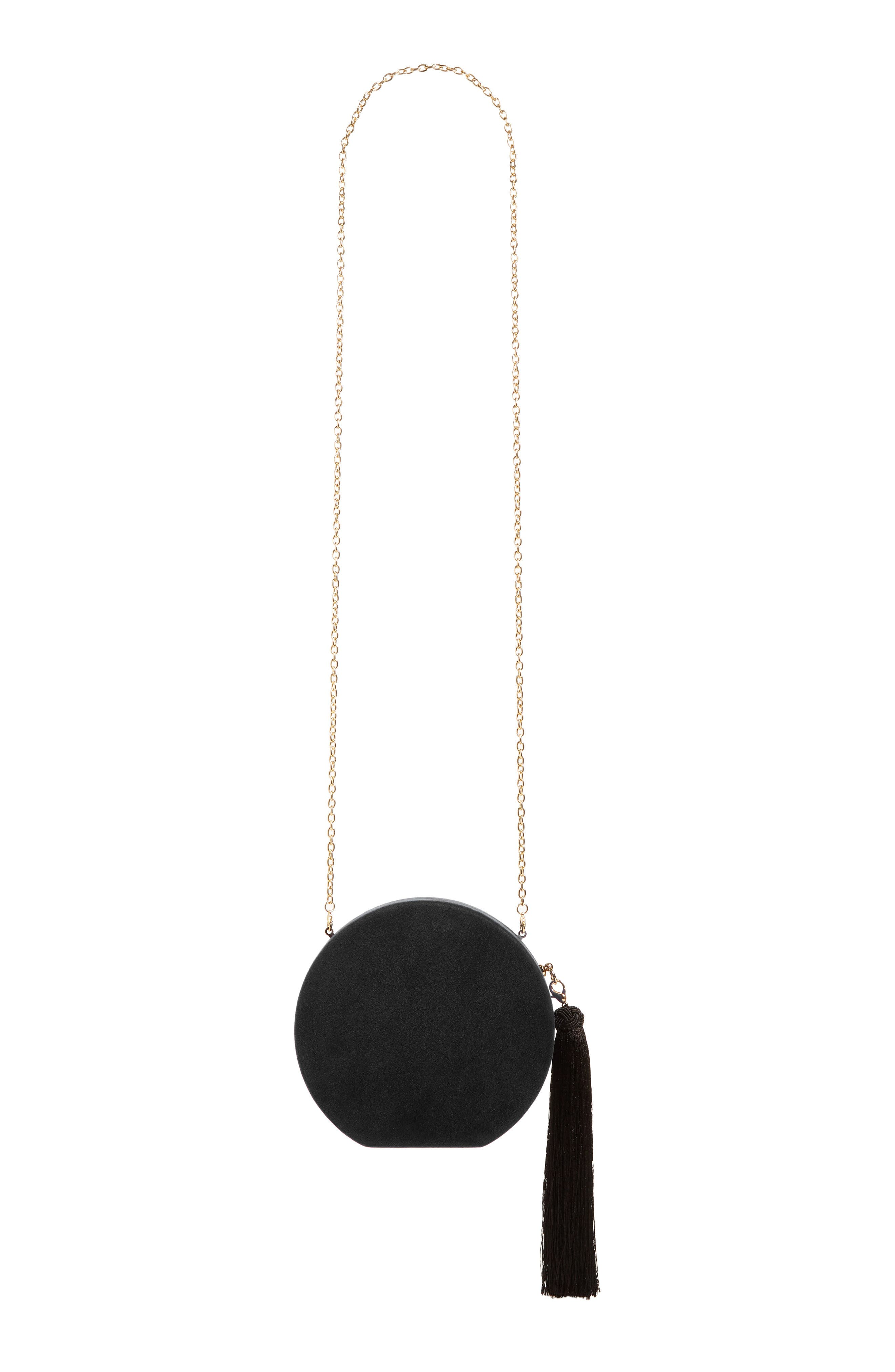 Couture Round Tassel Clutch,                             Alternate thumbnail 3, color,                             001