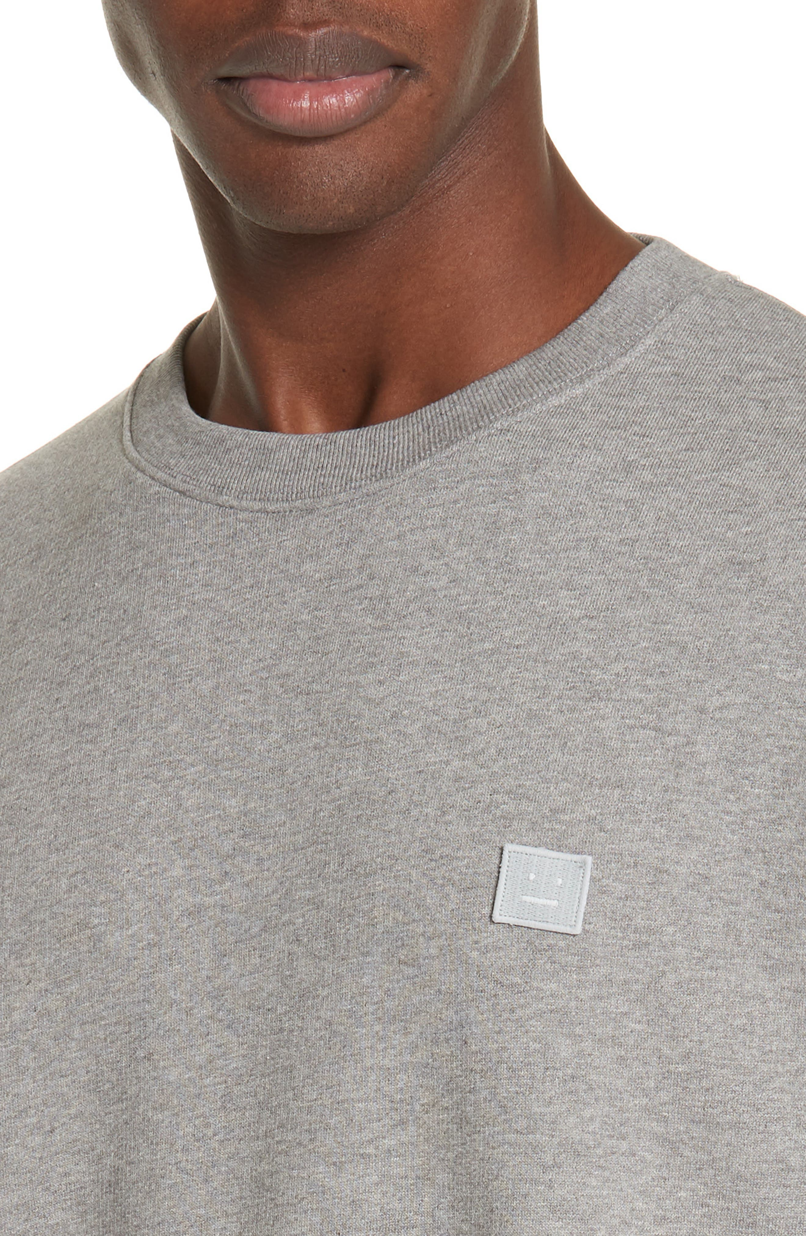ACNE STUDIOS,                             Forba Face Sweatshirt,                             Alternate thumbnail 4, color,                             LIGHT GREY MELANGE